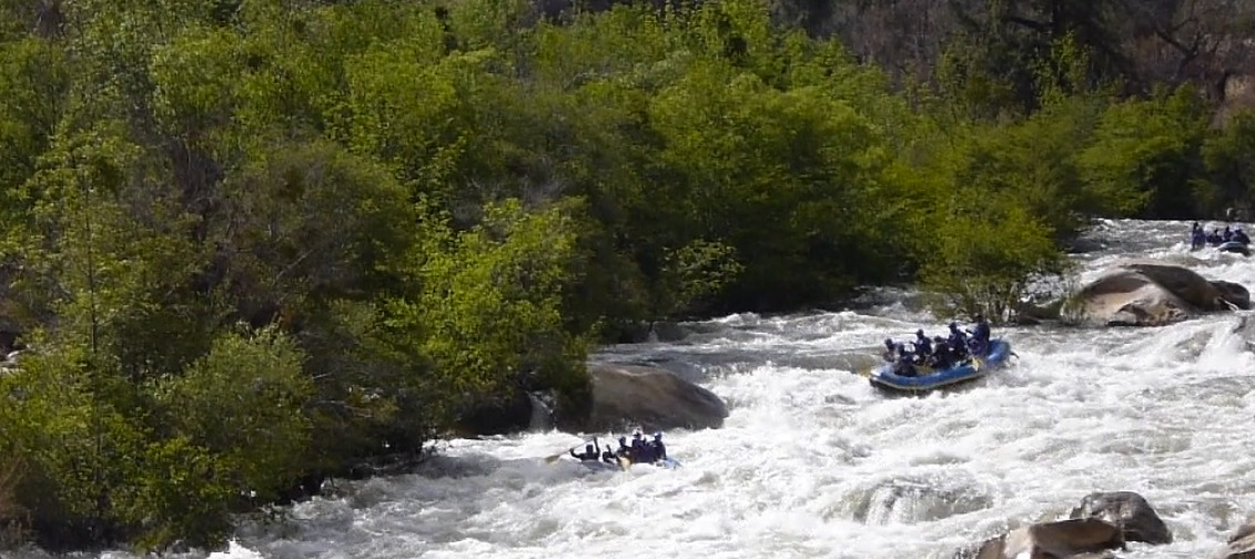 The rafts of Kern River Tours navigating Fender Bender rapid of the Thunder Run on the Upper Kern.