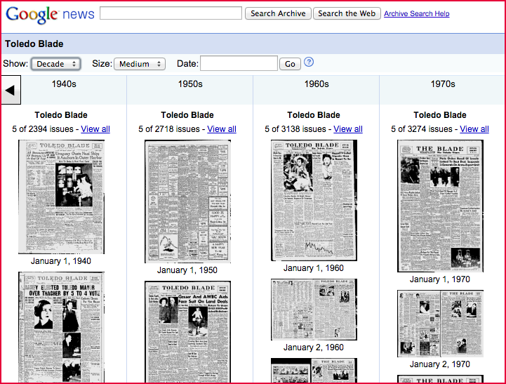 Google News Archiveis not a Blade project, but it remains useful as a research tool. T he archives are published as searchable image files of actual newspaper pages.