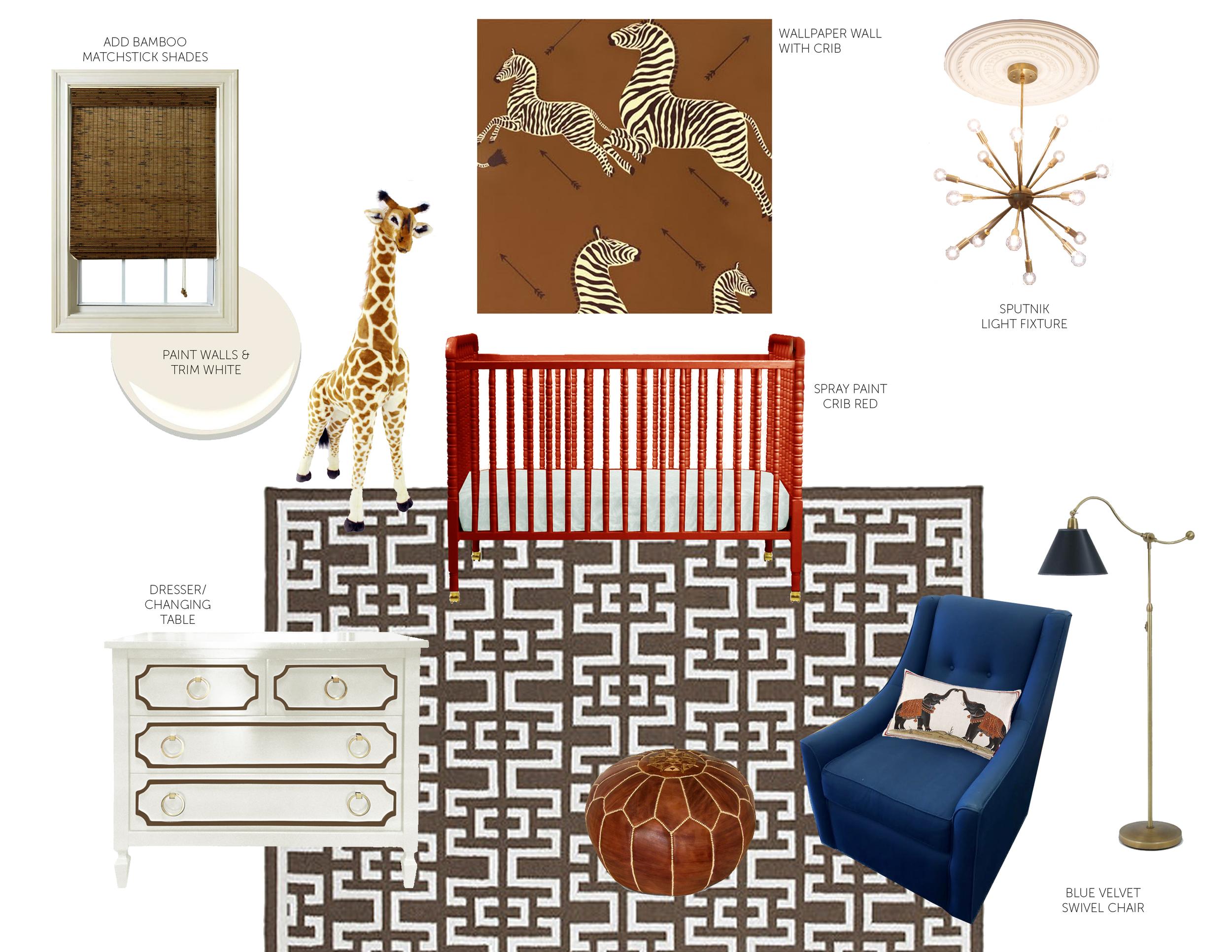 L I N K S :  light fixtue     dresser/changing table     rug     pouf     floor lamp     crib     wallpaper     glider     throw pillow     crib sheet     giraffe