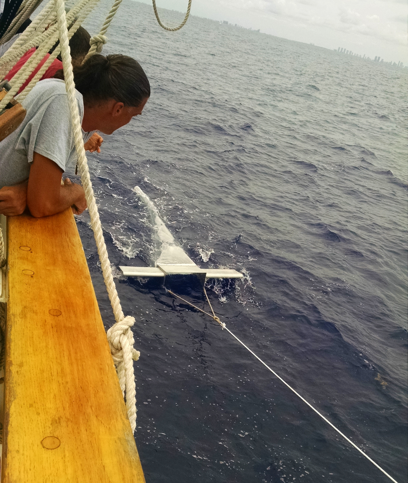 The Manta Ray sea trawl on it's first launch of this 17th expedition