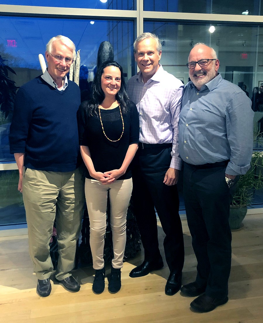 Environmental stewardship winner Samantha Romanick with New England Biolabs CEO James Ellard, Executive Director Peter Nathan, PhD and Sir Richard Roberts, PhD Chief Scientific Officer and Noble Prize winner.