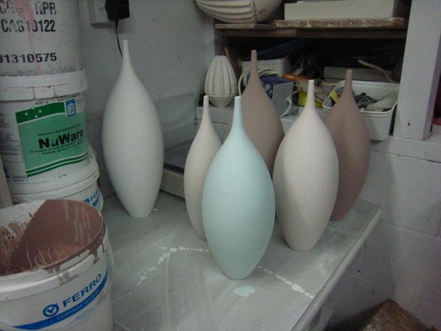 glazing bottles before firing