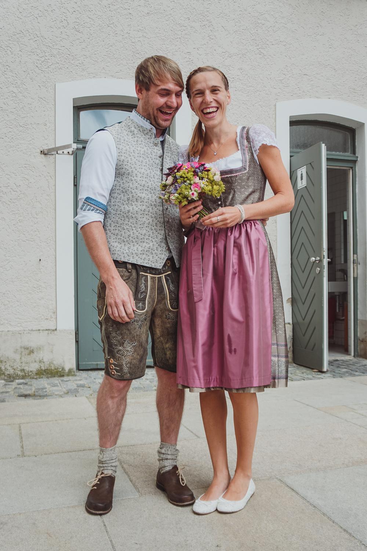 Newlyweds in traditional dress, Passau, Germany