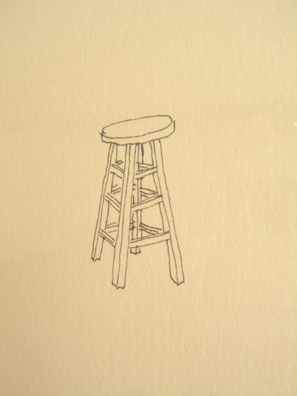 Stool,  2007  Ink on cotton paper  15H x 10.5W inches