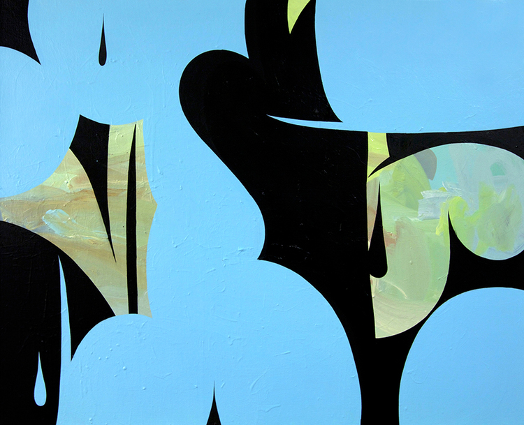 Untitled (Bold Blue), 2014, 24in x 30in, Mixed media on canvas