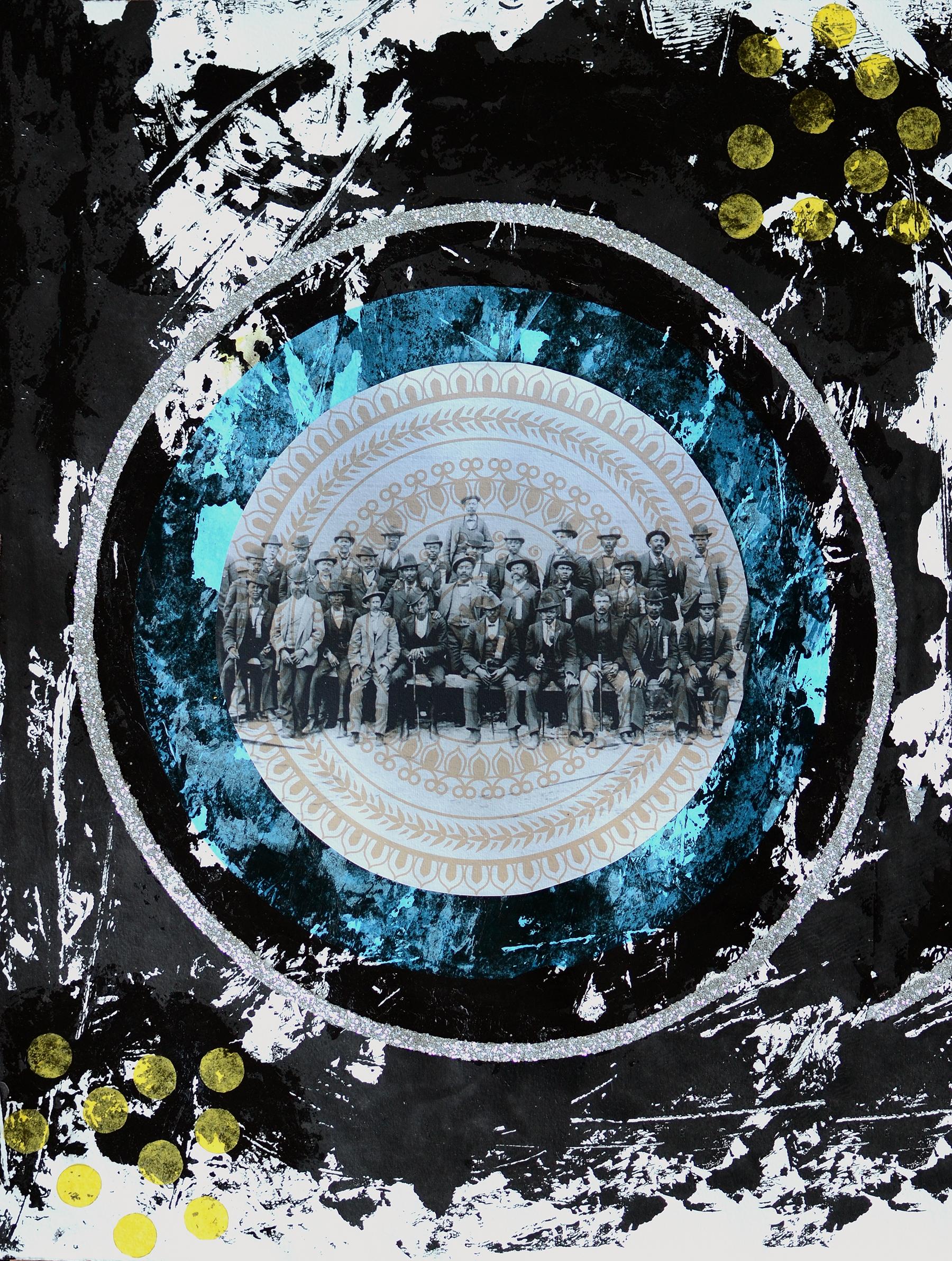 Phonological Loop  , 2016 Black gesso, gel medium, archival pigment ink, tissue, glitter on watercolor paper 30 x 22.5 in.