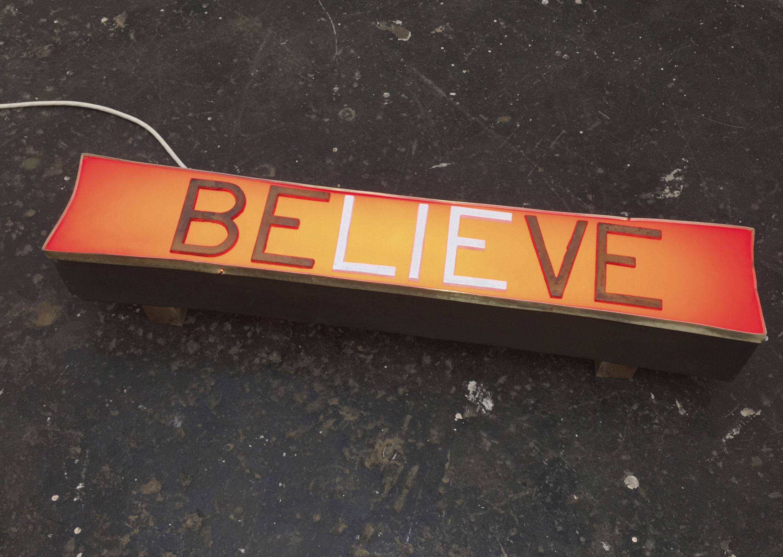 I BELIEVE  , 2016 Re-purposed signage, neon, walnut, cast iron 7H x 37W x 7D inches