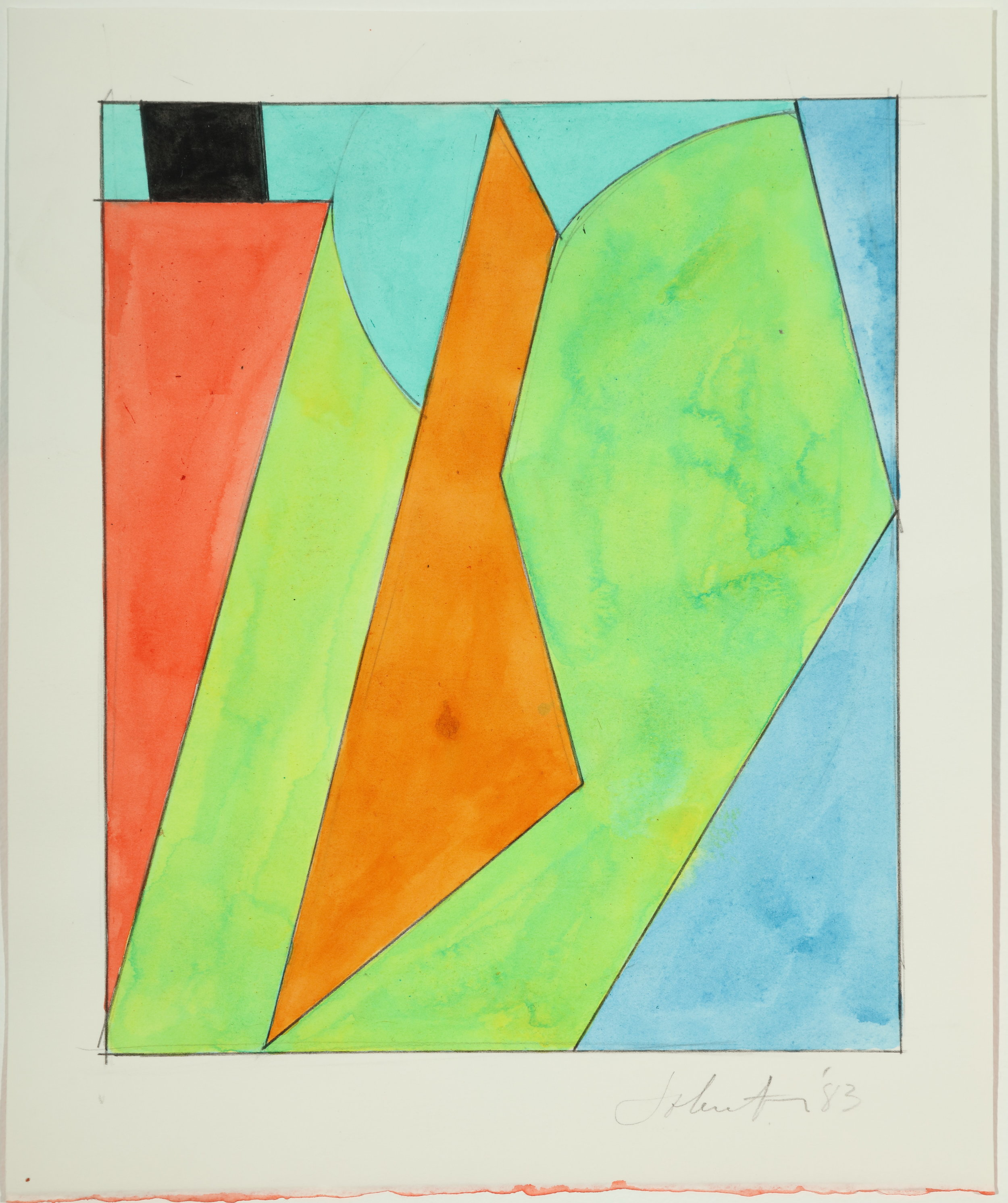 Untitled, Color Study, 983 Acrylic and pencil on paper 10.75H x 8.87W inches
