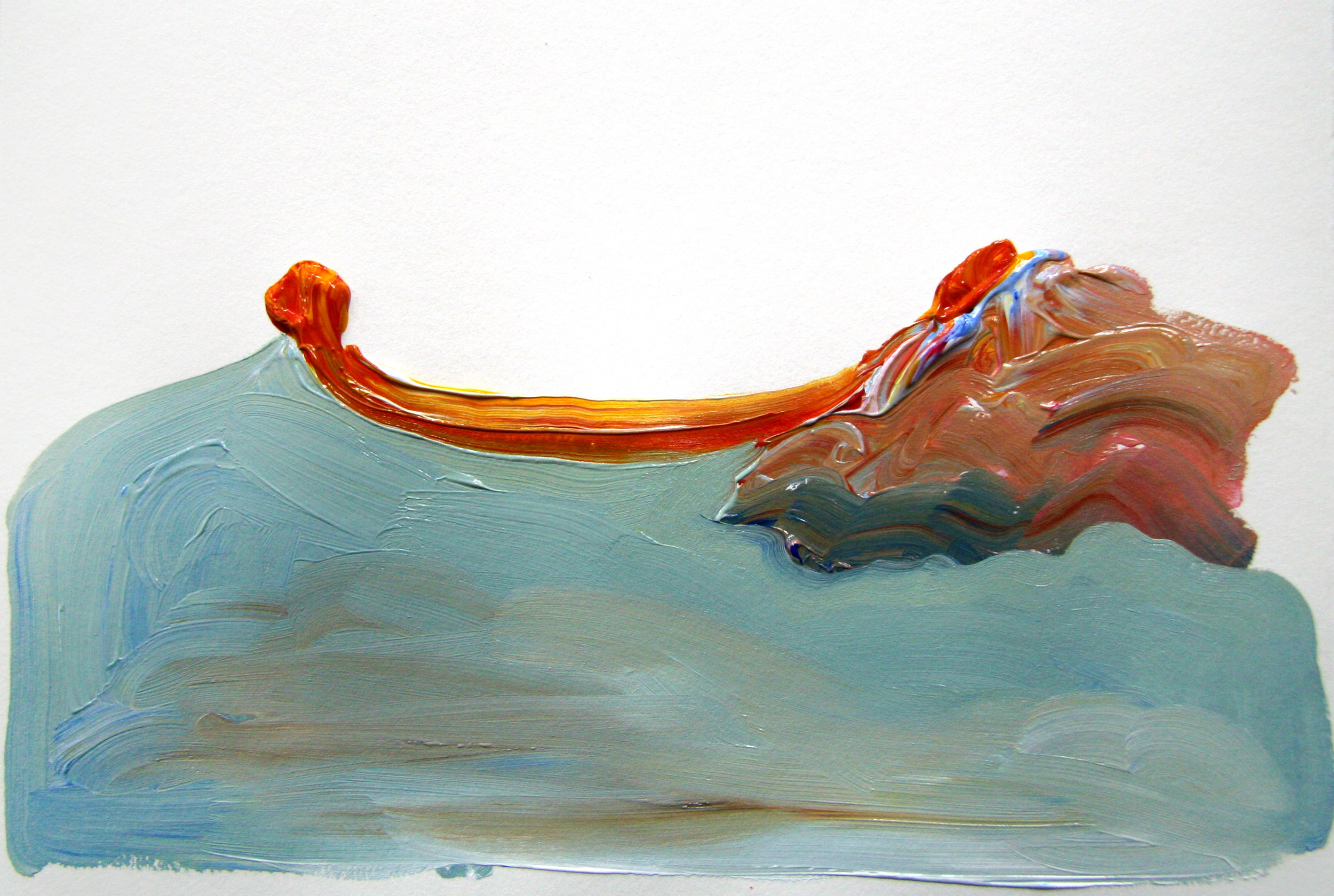 Boat on the Ocean , 2013 Acrylic on paper 7.5H x 11W inches