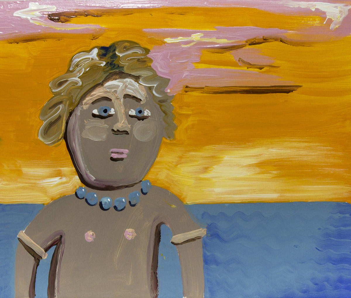 Gingerbread on Vacation , 2015 Acrylic on paper  10H x 11.5W inches