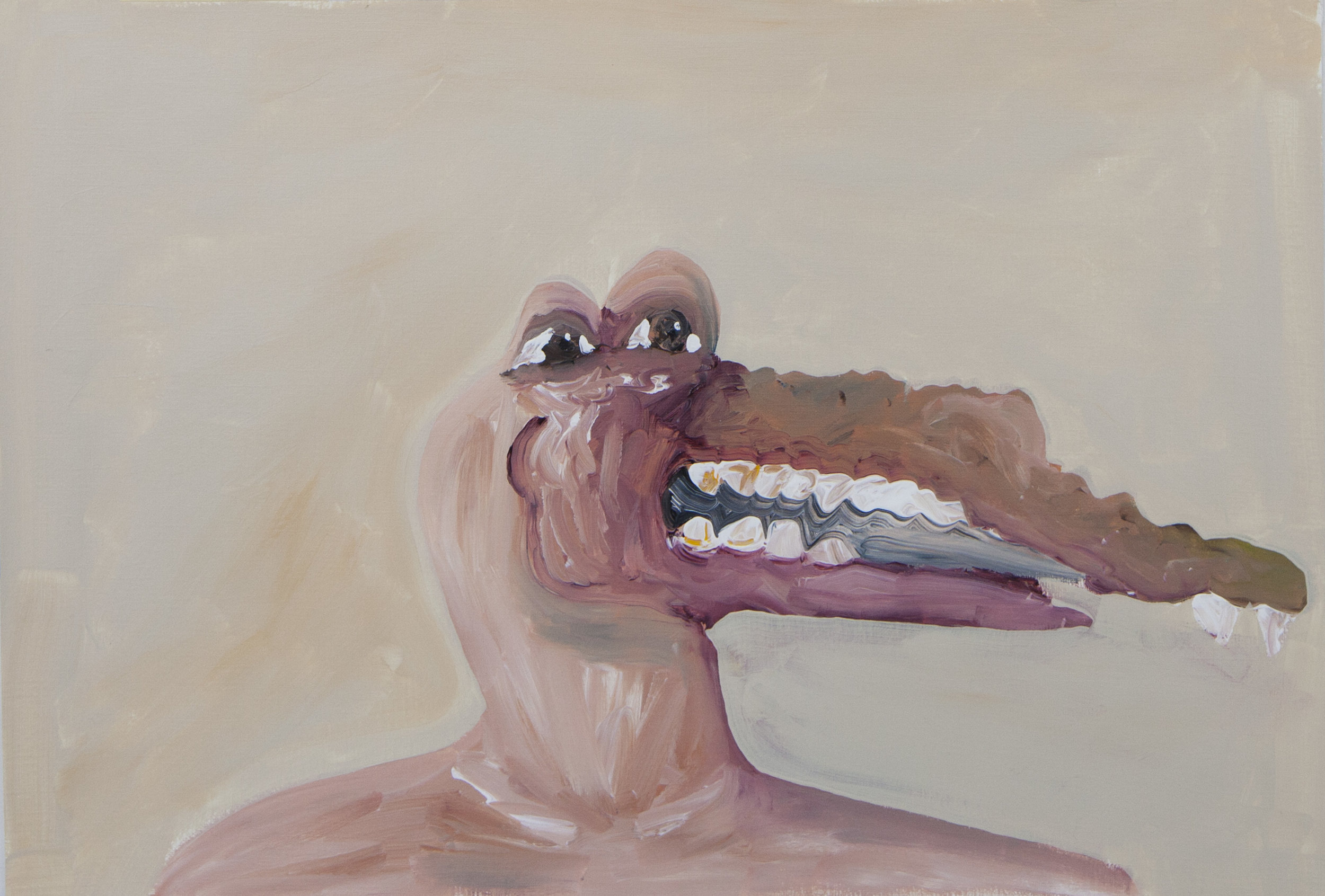 Gator Face,  2013 Acrylic on paper 16.5H x 23.5W inches