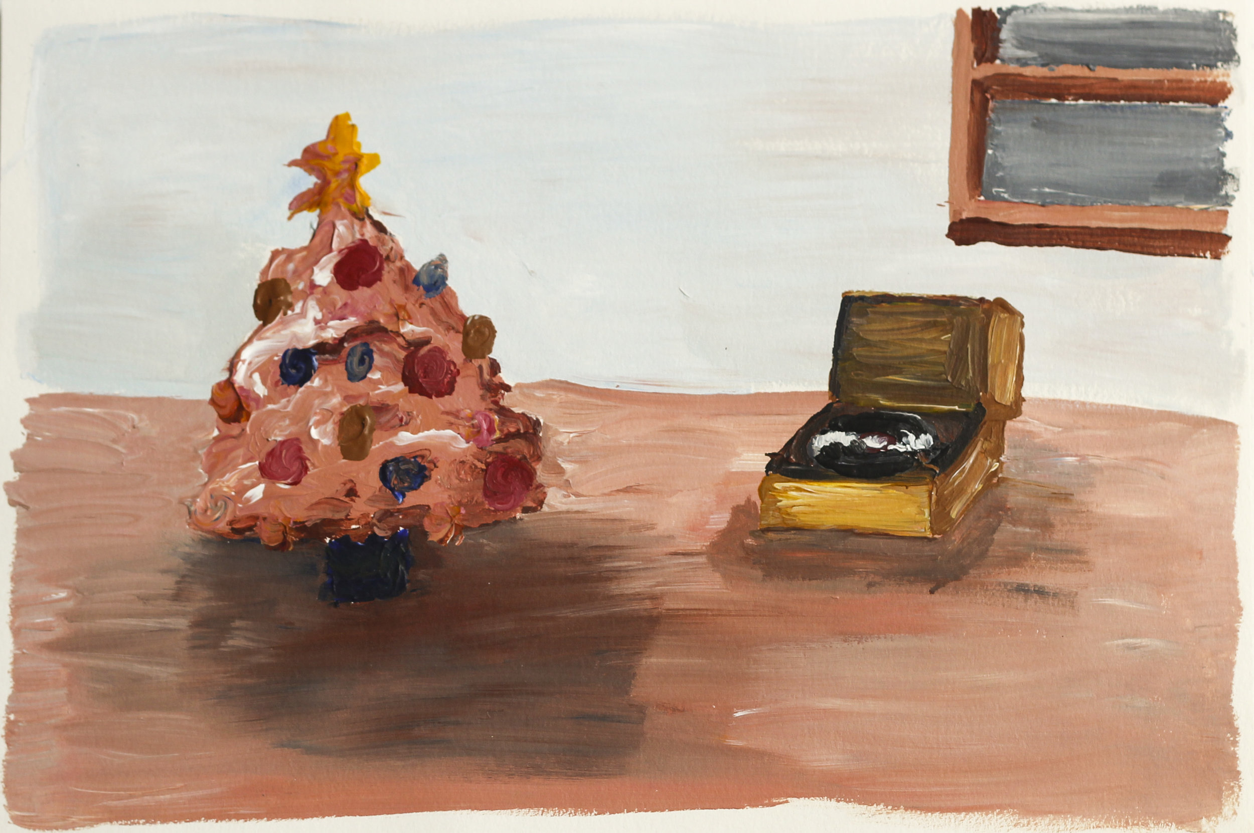 Skin Christmas Tree Listening to Walter Gieseking Play Claire De Lune , 2013 Acrylic on paper 7.5H x 11W inches