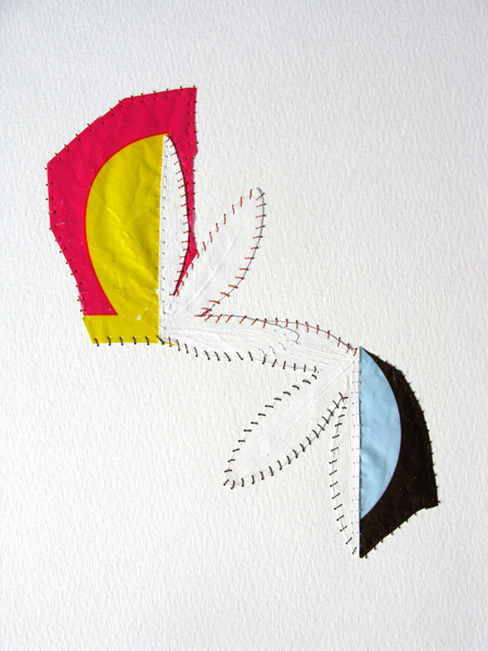 NV#55  , 2007 leaf, gesso, plastic bag, Flashe paint, thread on paper 12 x 9 in.