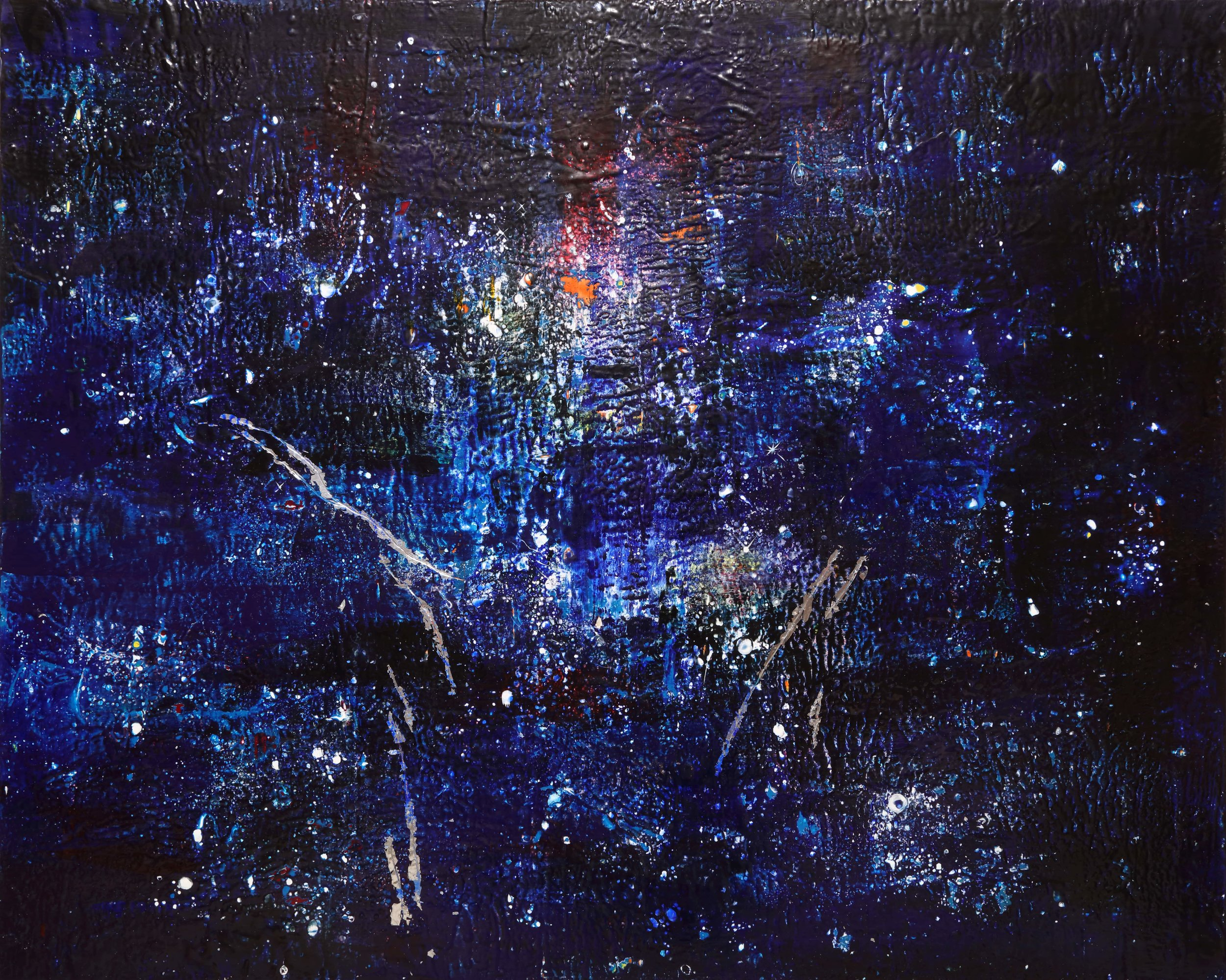 Dark Nebula  , 2018 Encaustic and mixed media on wood panel 48 x 60 x 3 in.