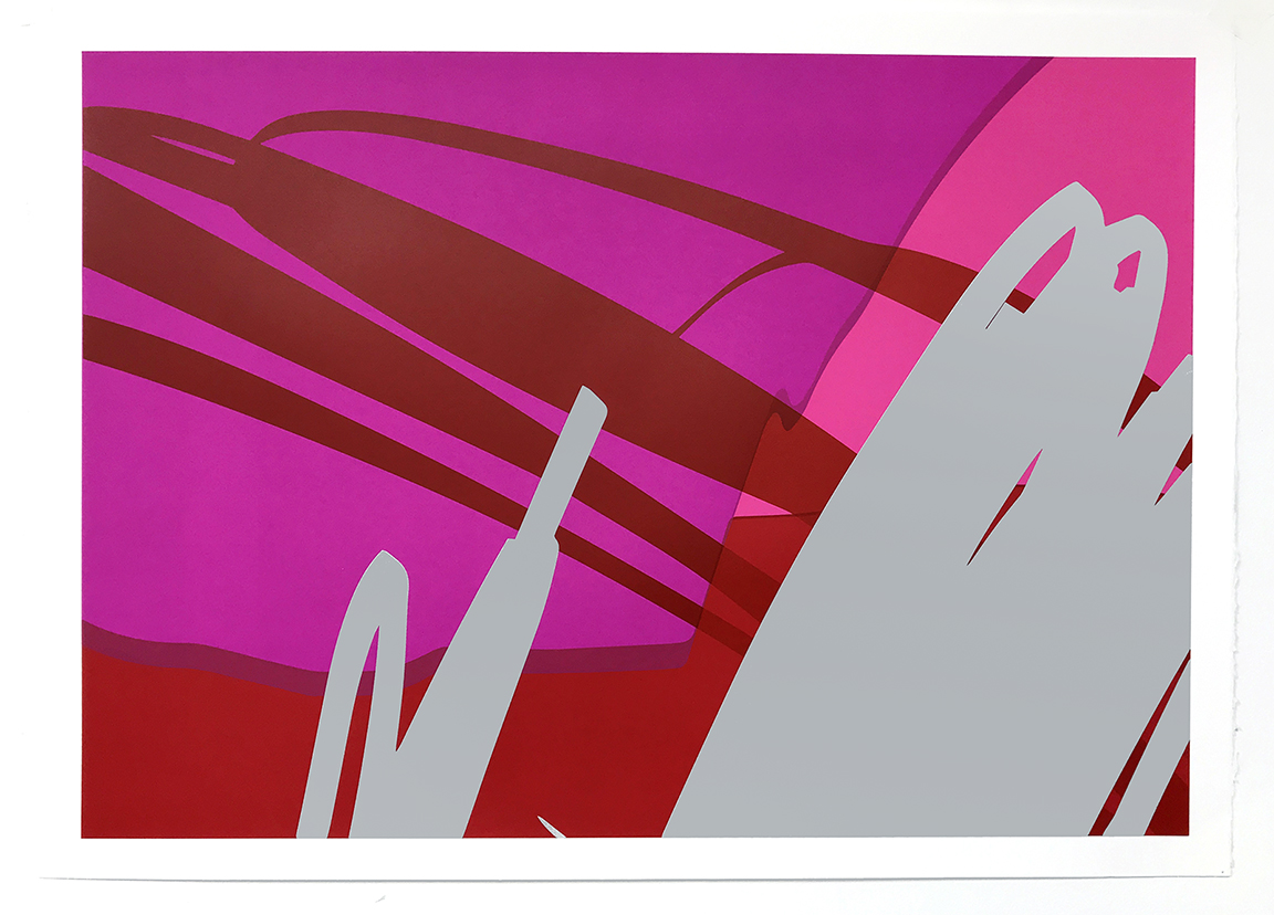 Safe (Red),  2018  5 color screen print on Fabriano paper, edition of 10  22H x 30W inches unframed  27H x 34.5W inches framed