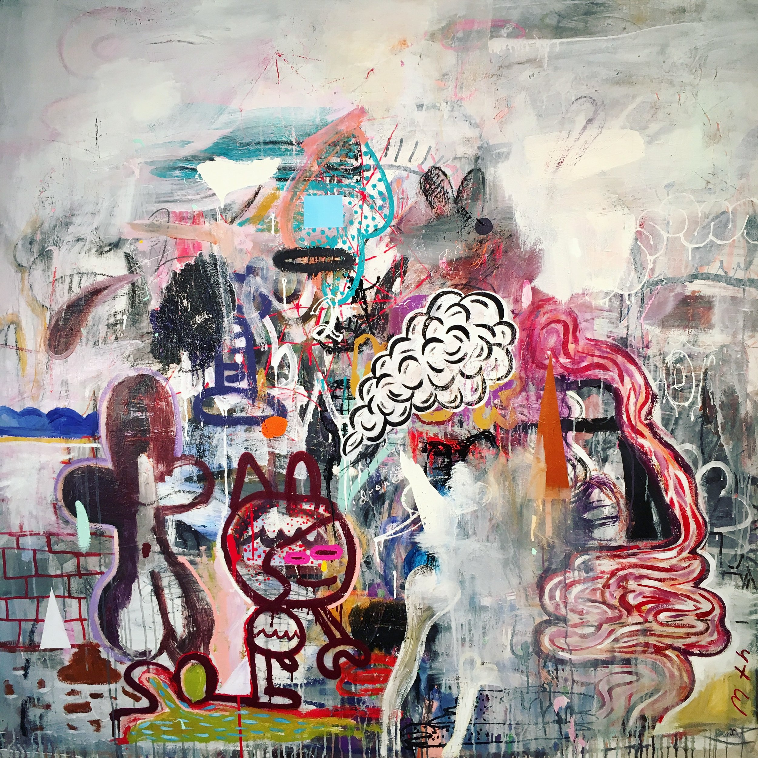 Spiller,   2018  Mixed media on canvas  60 x 60 in.