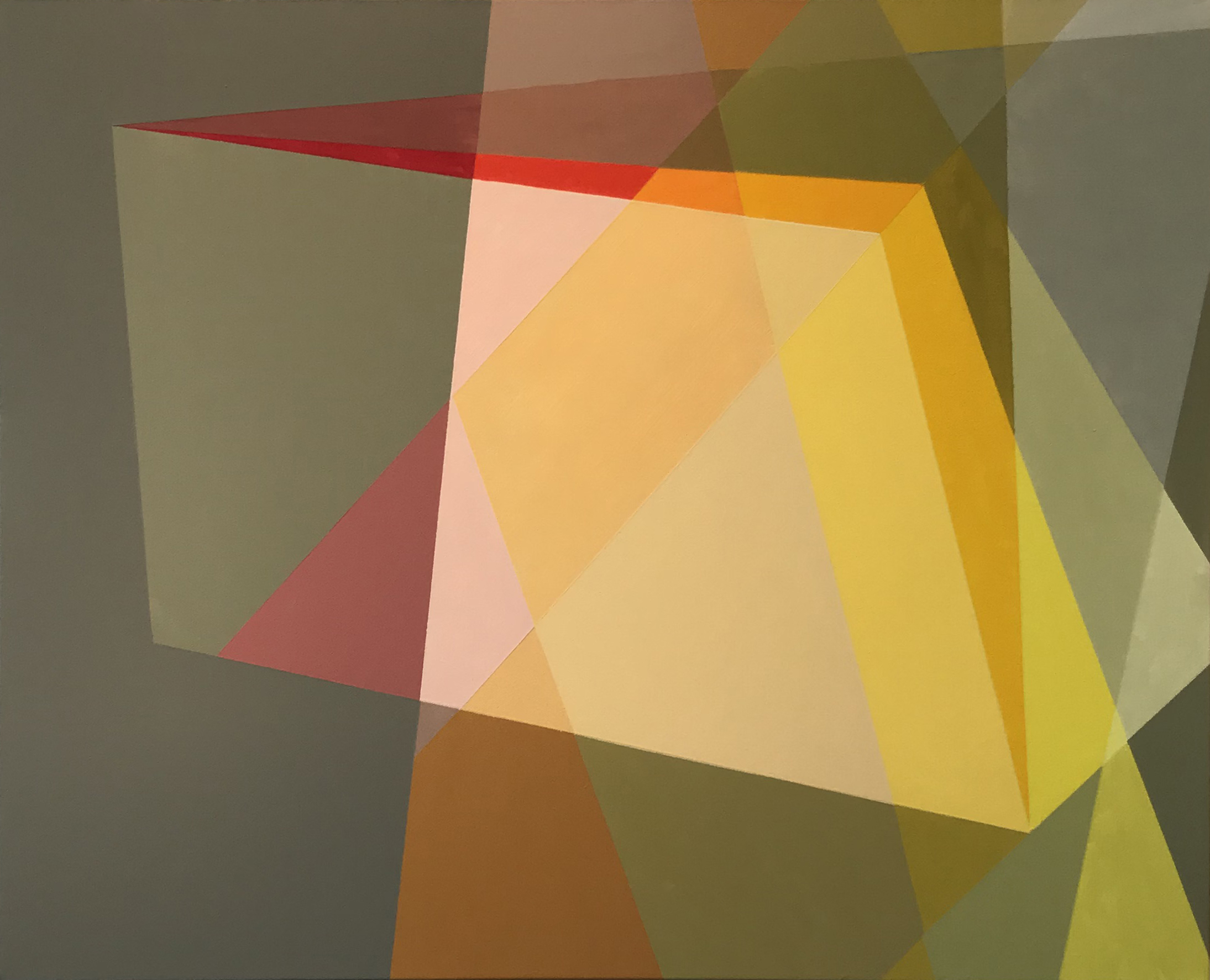 """Geometry, Visual Play InTipping Point Illustrate Giant Leap For Painter Don Cooper - """"I have little doubt that many viewers won't find dimensionality in these paintings at all, but most find them compelling in ways they find difficult to define. This is because the particular color combinations and unusual uses of familiar geometric forms create an effect that is ultimately unsettling but in a way that is profoundly pleasing. This work ought to be analyzed at leisure, in some other context, because it raises or touches on major issues of aesthetics and how perception is framed by prior assumptions and present expectations.""""View moreimage: Don Cooper, Falling Open, 2018, Acrylic on canvas, 24 x 30 in"""