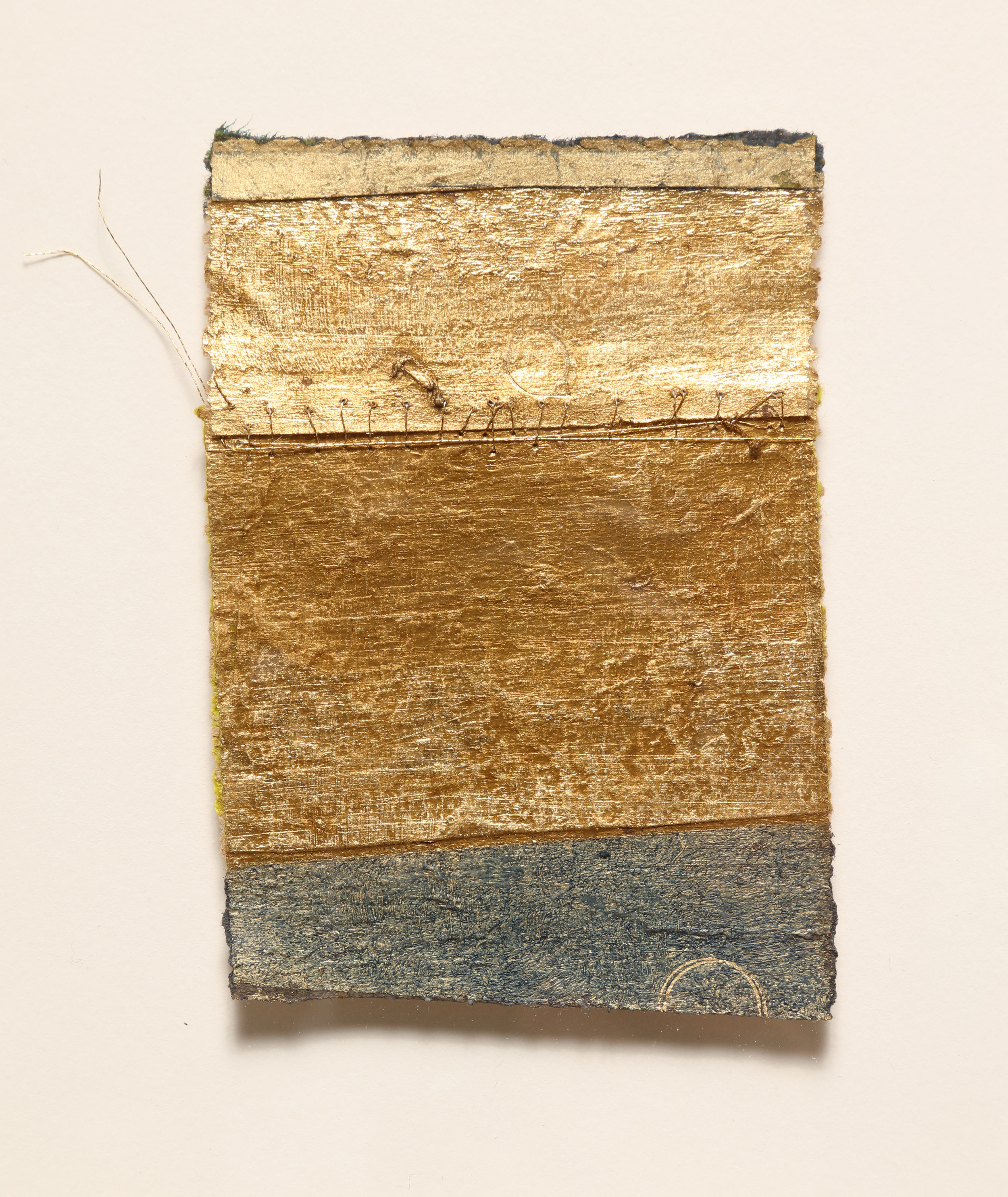 Untitled (Fragment 4),  2019  Oil, composition gold leaf, and 23K gold thread on paper  11.5H x 9W inches framed