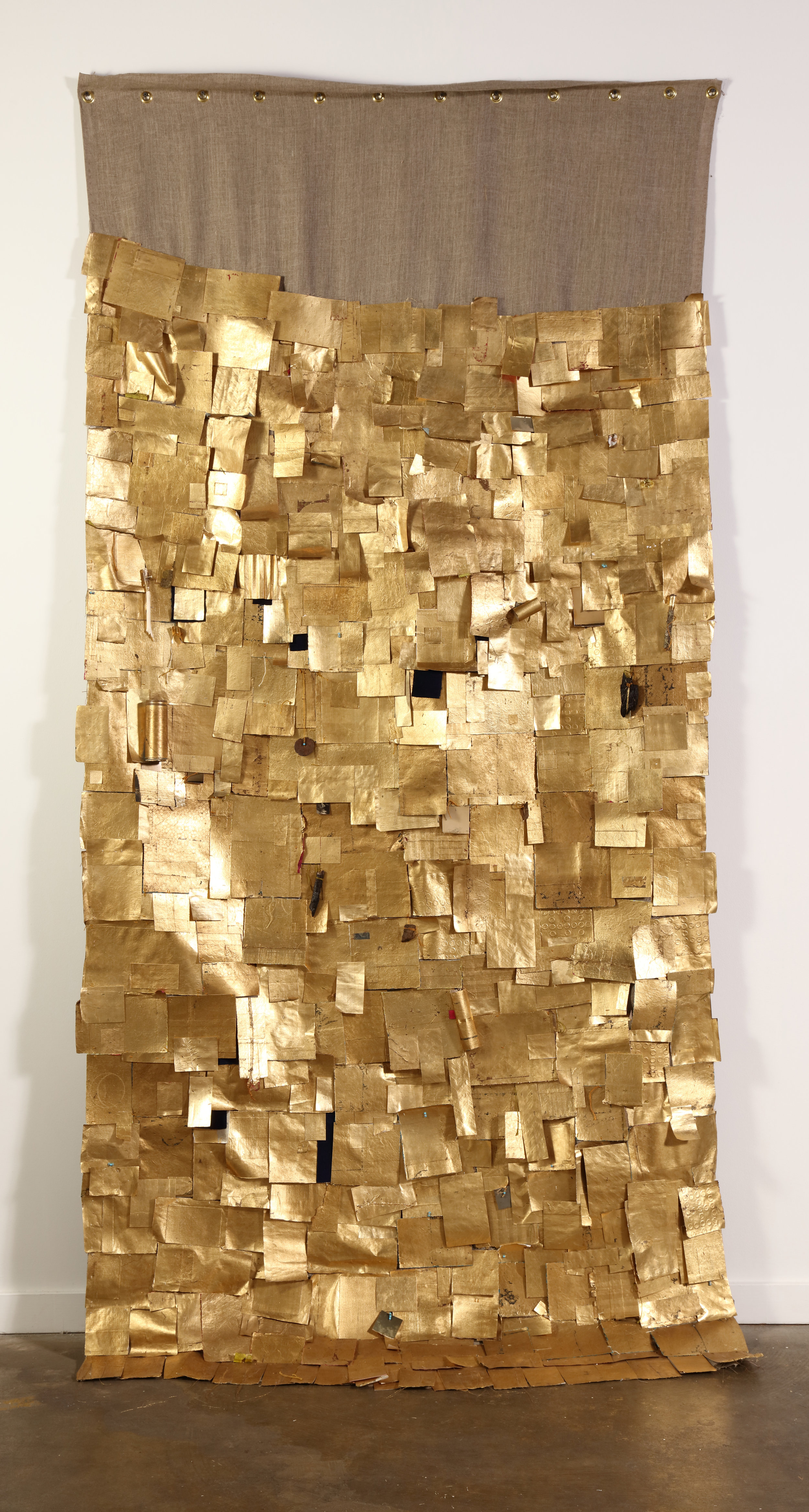 Nothing Gold Can Stay,  2019  Found and personal papers, composition gold leaf, found objects, cotton thread, and 23K gold thread on linen  118H x 56W inches