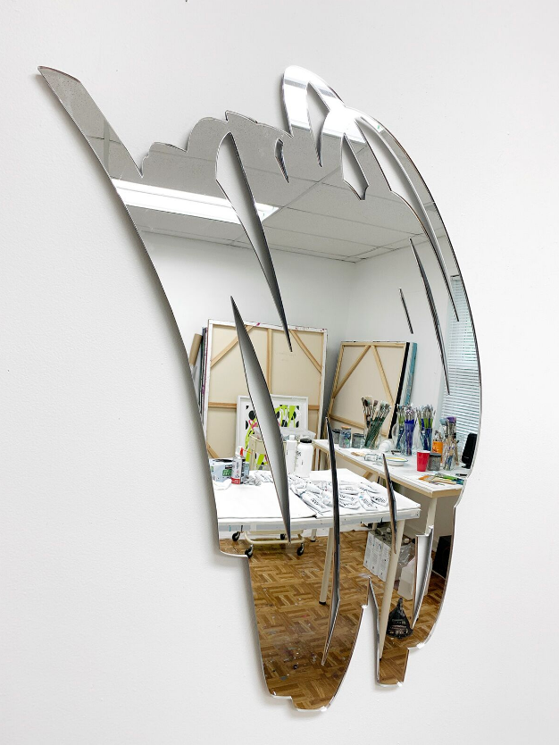 Scribble Mirror (1)  , 2019  Laser cut mirrored acrylic  434H x 22W x 0.125D inches
