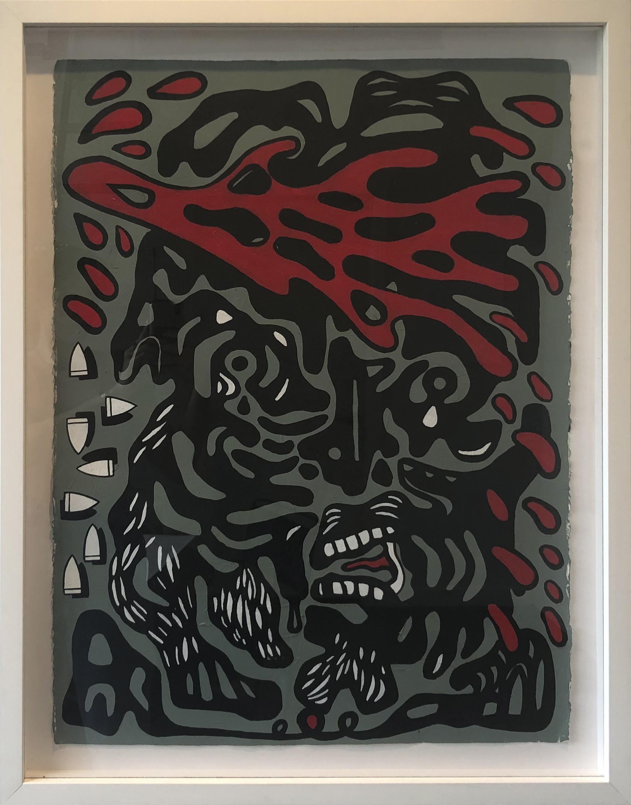 Cabeza 3,  2018  Acrylic on paper  30 x 22 in.