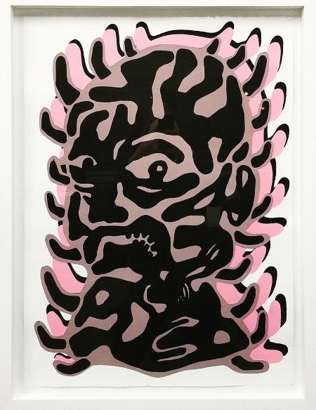 Cabeza 1,  2018  Acrylic on paper  30 x 22 in.