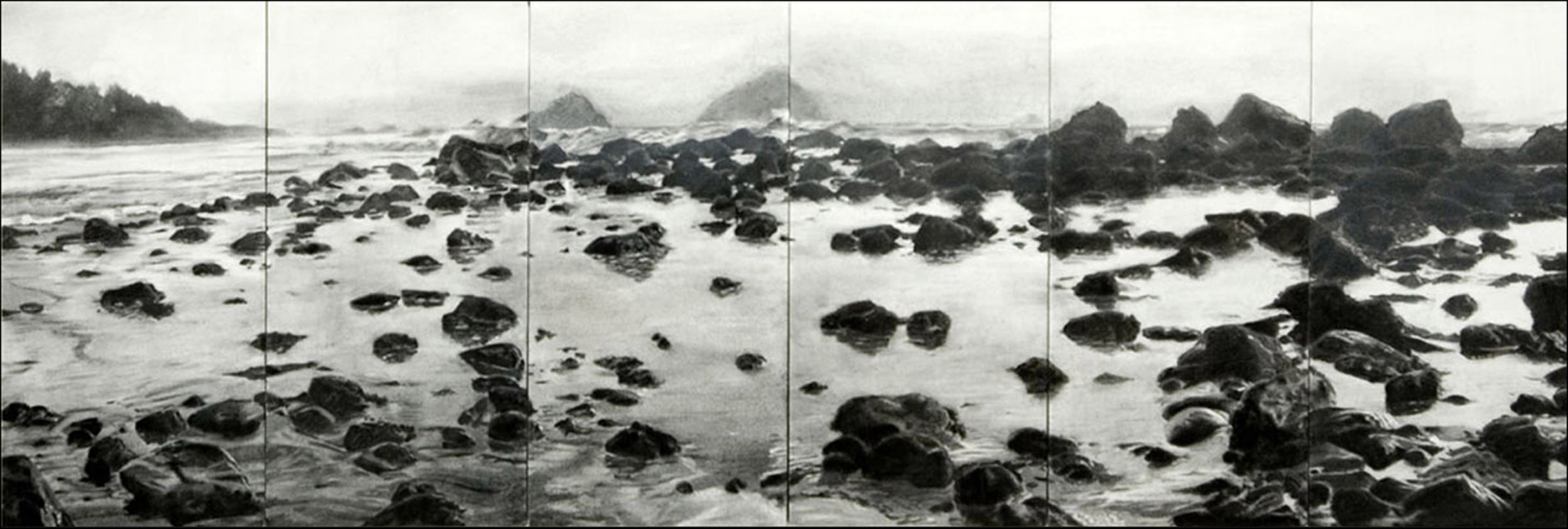 Klamath Cove  , 2010  Vine & compressed charcoal and acrylic glazes on 6 prepared panels  12 x 36 in.