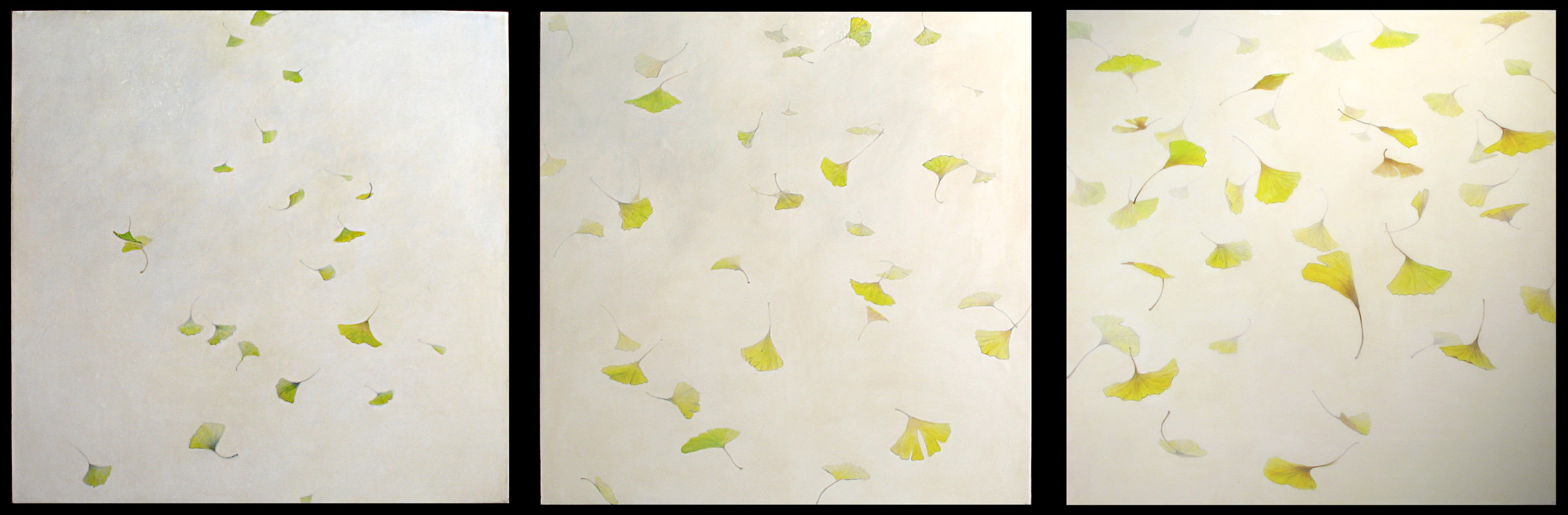 100 Gingkos  , 2006  Graphite, acrylic glazes on prepared cradled panels  3 panels, 36 x 36 inches each