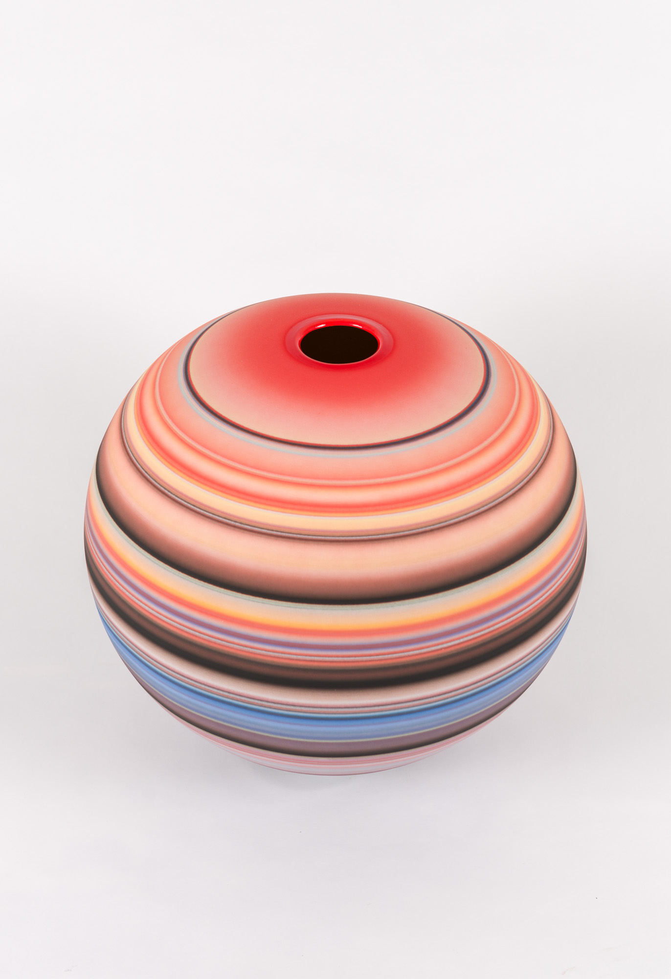 Accretion Series (round, red)  , 2019  Glazed Earthenware  16 x 16 x 16 in.