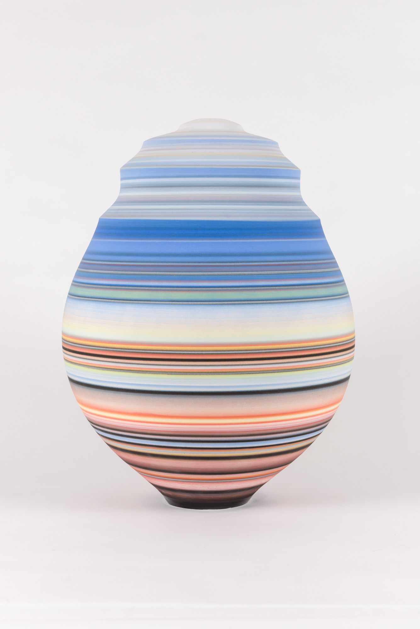 Accretion Series (blue, orange)  , 2019  Glazed Earthenware  22 x 16 x 16 in.