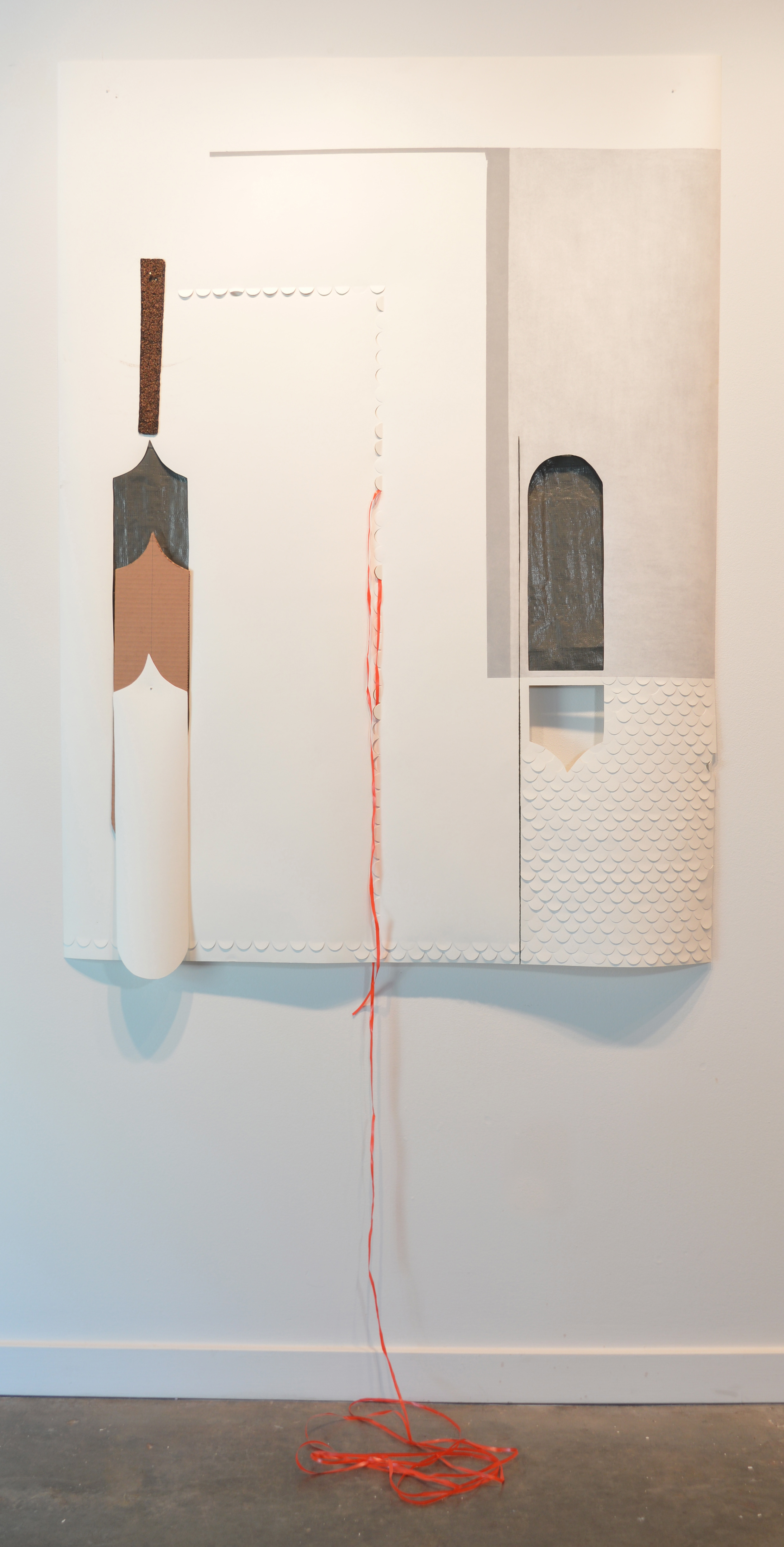 Krista Clark   Pocked Containment,  2018  Paper, cardboard, roofing, tarp, pastel, and construction paper  69H x 43W inches