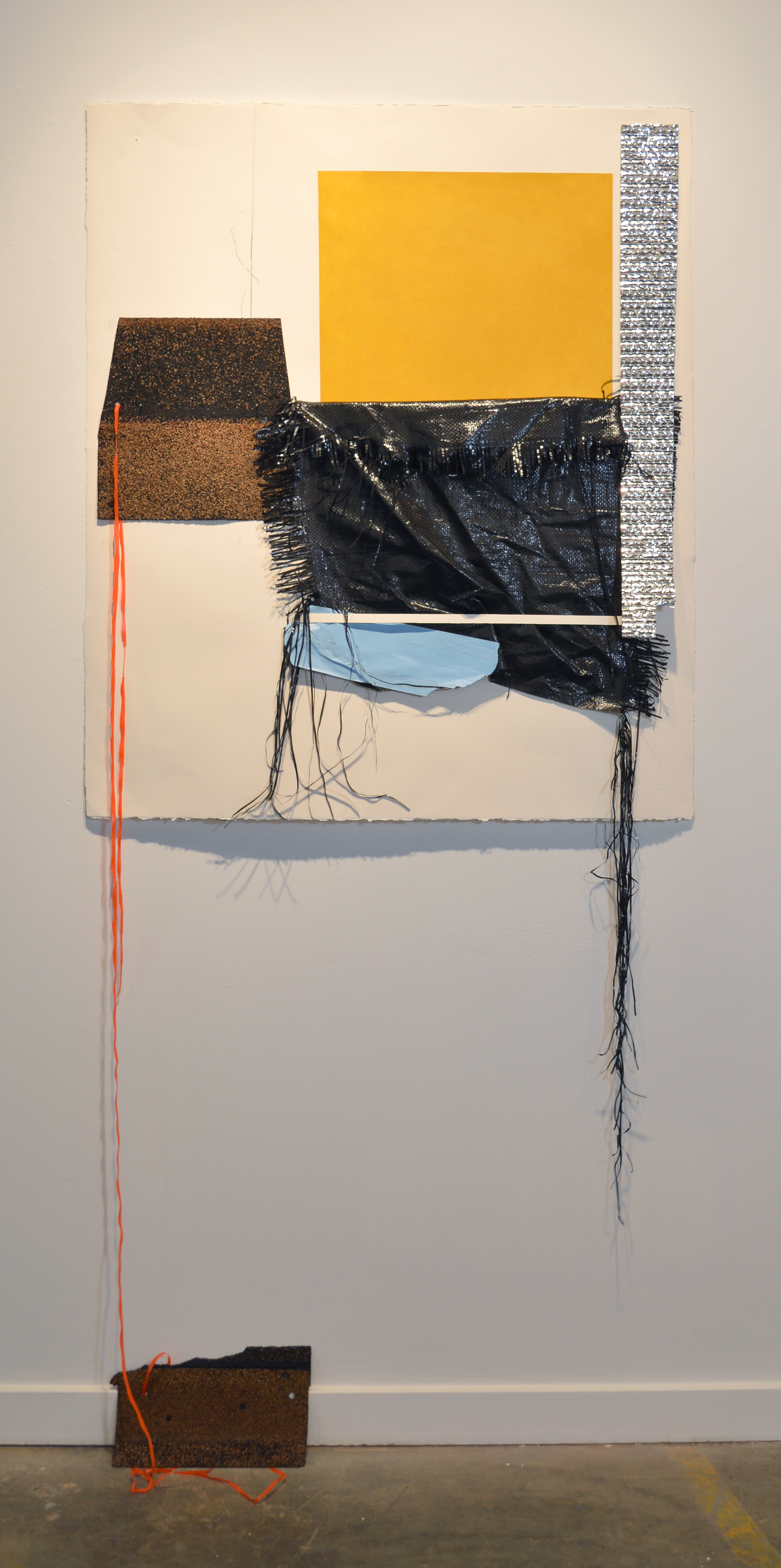 Krista Clark   Block by Block,  2018  Paper, insulation, tape, roofing, graphite, construction fencing, tarp, and pastel  52H x 36W inches