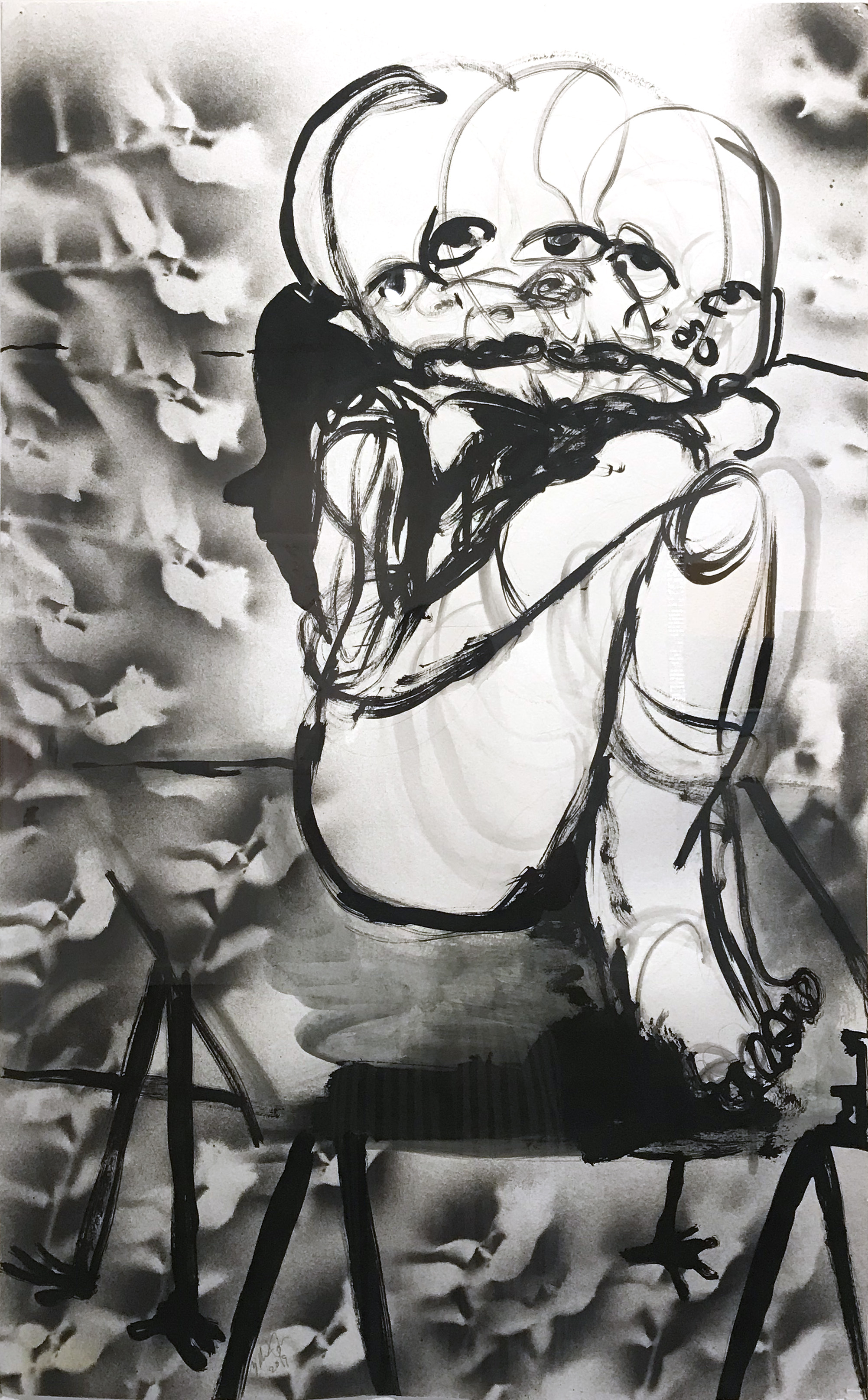 William Downs   Drawing spirits all night,  2019  Ink wash and spray paint on paper  38H x 23.5W inches