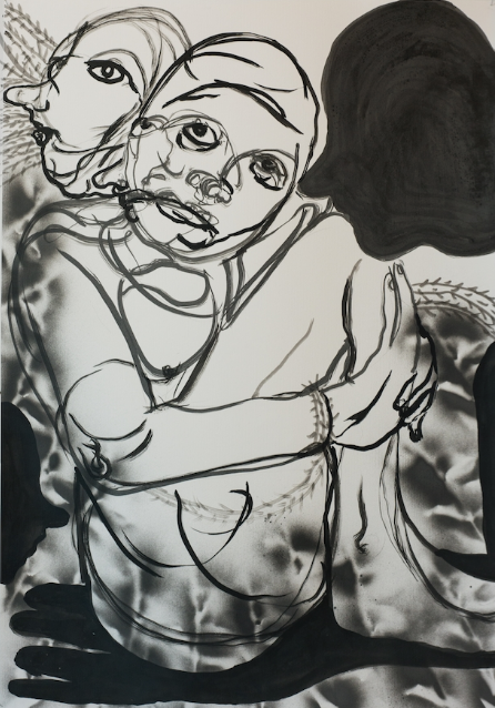 William Downs   Look at Ada,  2019  Ink wash and spray paint on paper  39H x 27W inches