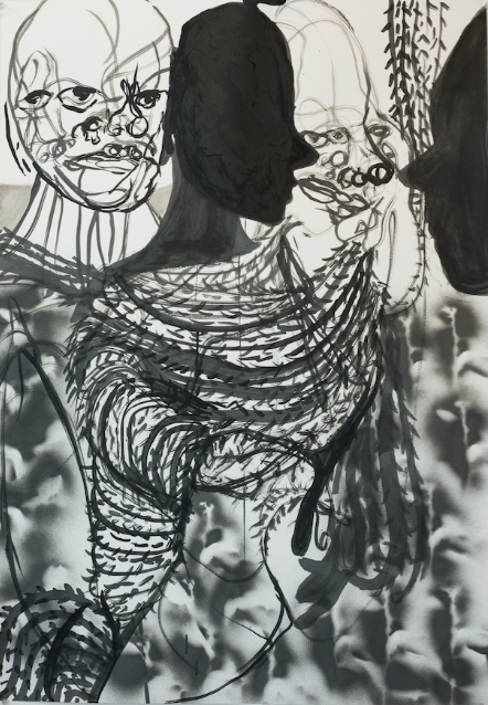 William Downs   Spirit and Presence,  2019  Ink wash and spray paint on paper  39H x 27W inches