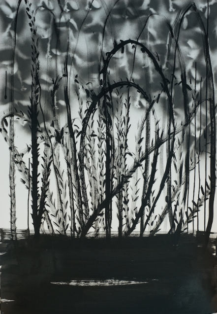 William Downs   Tyson,  2019  Ink wash and spray paint on paper  39H x 27.5W inches