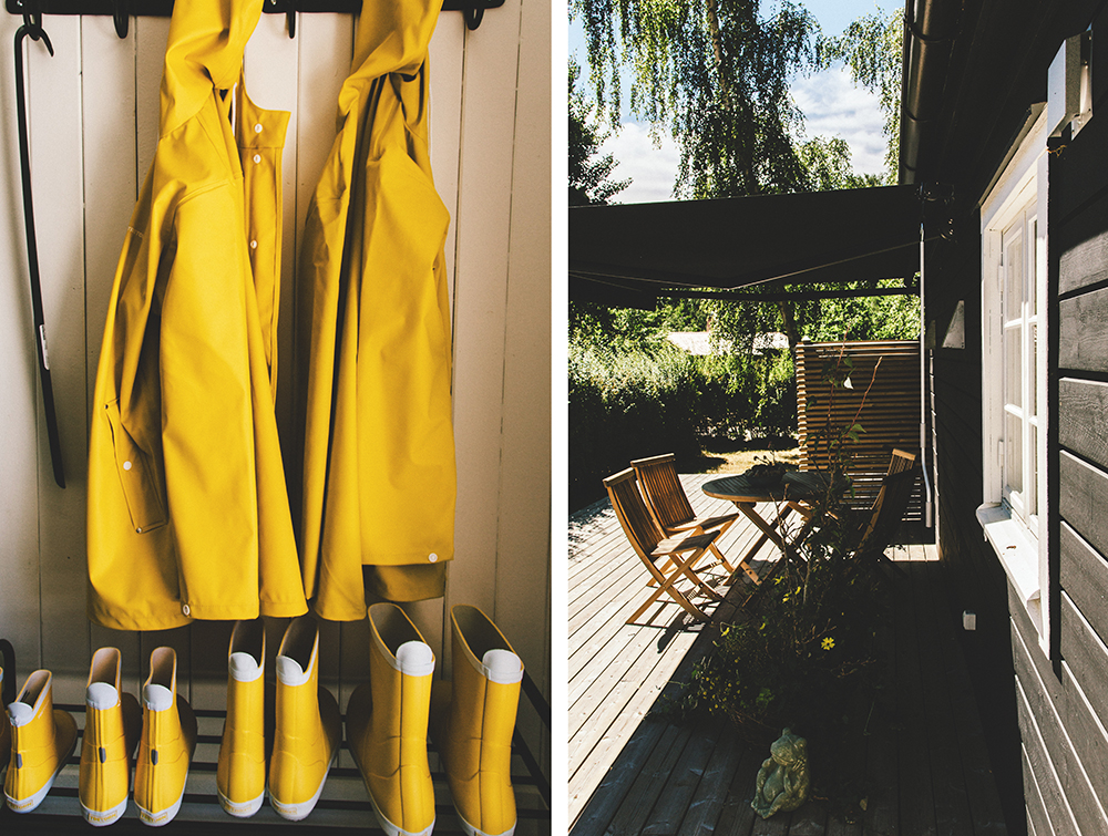 Don't mind if it rains! The cabins are fully equipped with kitchen, bikes, washing machine and stylish rainwear.