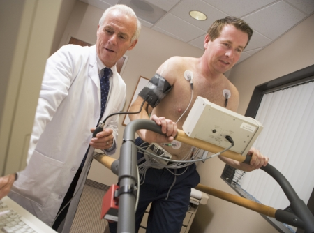 Stress tests are for people having symptoms like chest pain. Stress tests can never predict heart attacks.