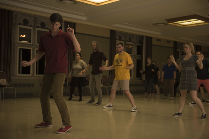 "Marat Musin, a Russian PhD Physics candidate, has been at Mizzou for 5 years now, and is shown teaching the ""shim sham"" to students at Memorial Union on Tuesday, October 4, 2016. He started teaching swing lessons a few months ago and likes the shim sham dance because ""it has good stops and breaks to do fun things."""