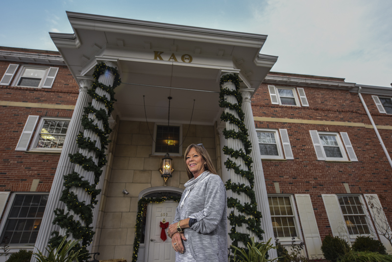 House Mom Kathy stands in front of Kappa Alpha Theta on Wednesday, November 7, 2016 in Columbia, Mo. Photo by Morgan Lieberman © 2016