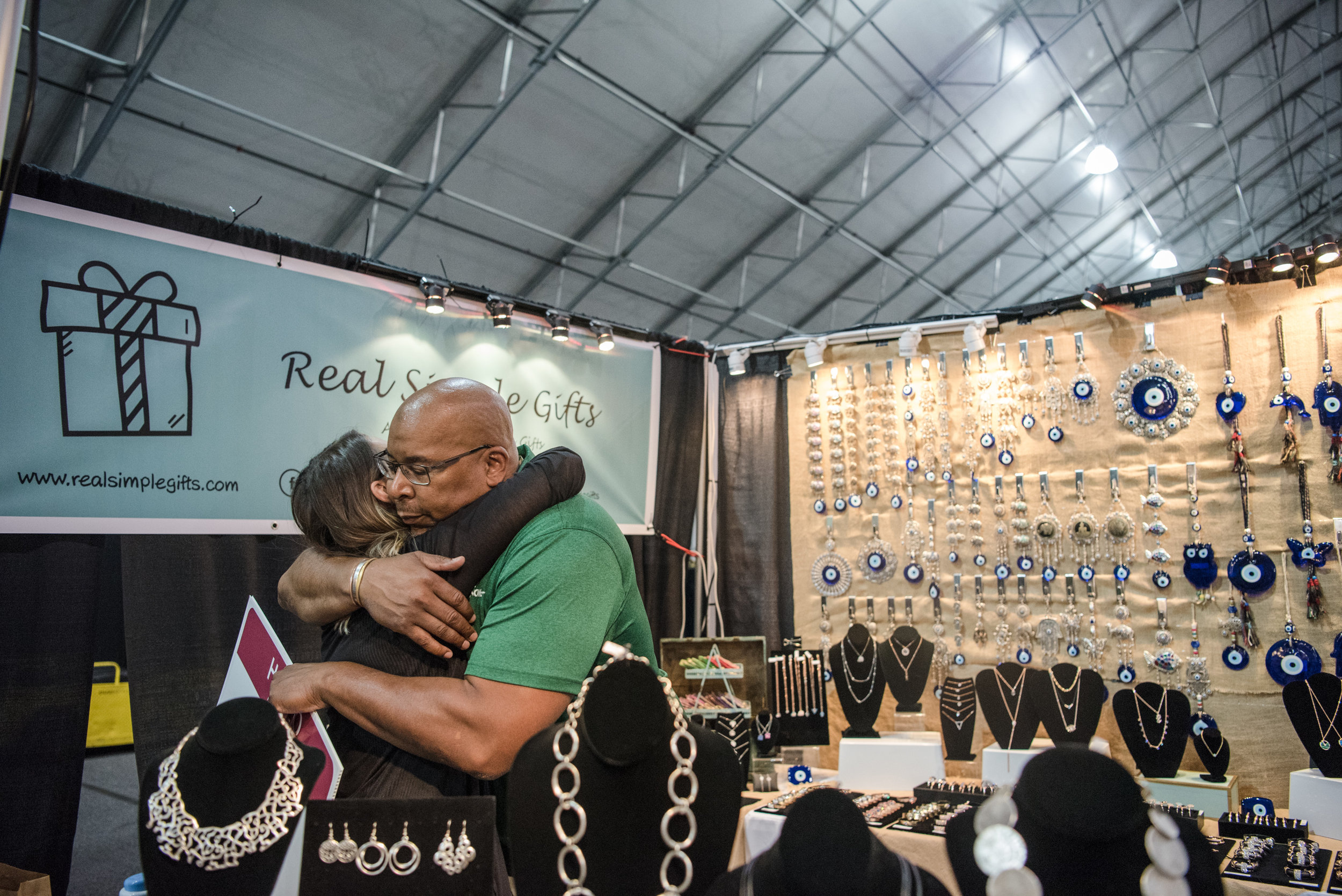 """Big Dave"" Sylvester embraces a vendor at Las Vegas Gift Show at Las Vegas Market on Sunday, July 30, 2017, in Las Vegas. Morgan Lieberman Las Vegas Review-Journal"