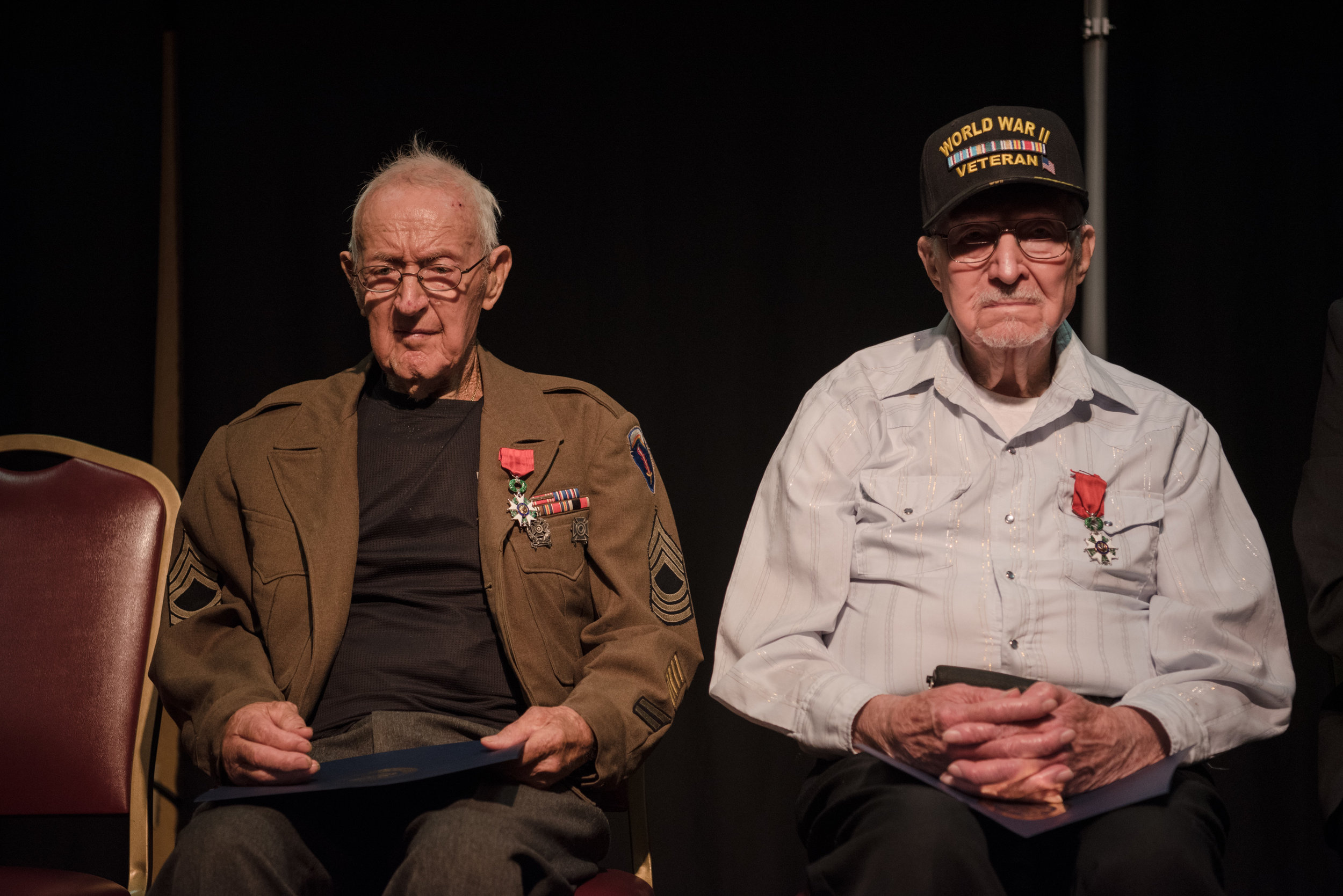 Master Sgt. Lyle Wells and PFC Vernon Fulcher with their Legion D' Honneur medals for their military service during World War II at El Cortez hotel-casino on Saturday, July 22, 2017, in Las Vegas. Morgan Lieberman Las Vegas Review-Journal