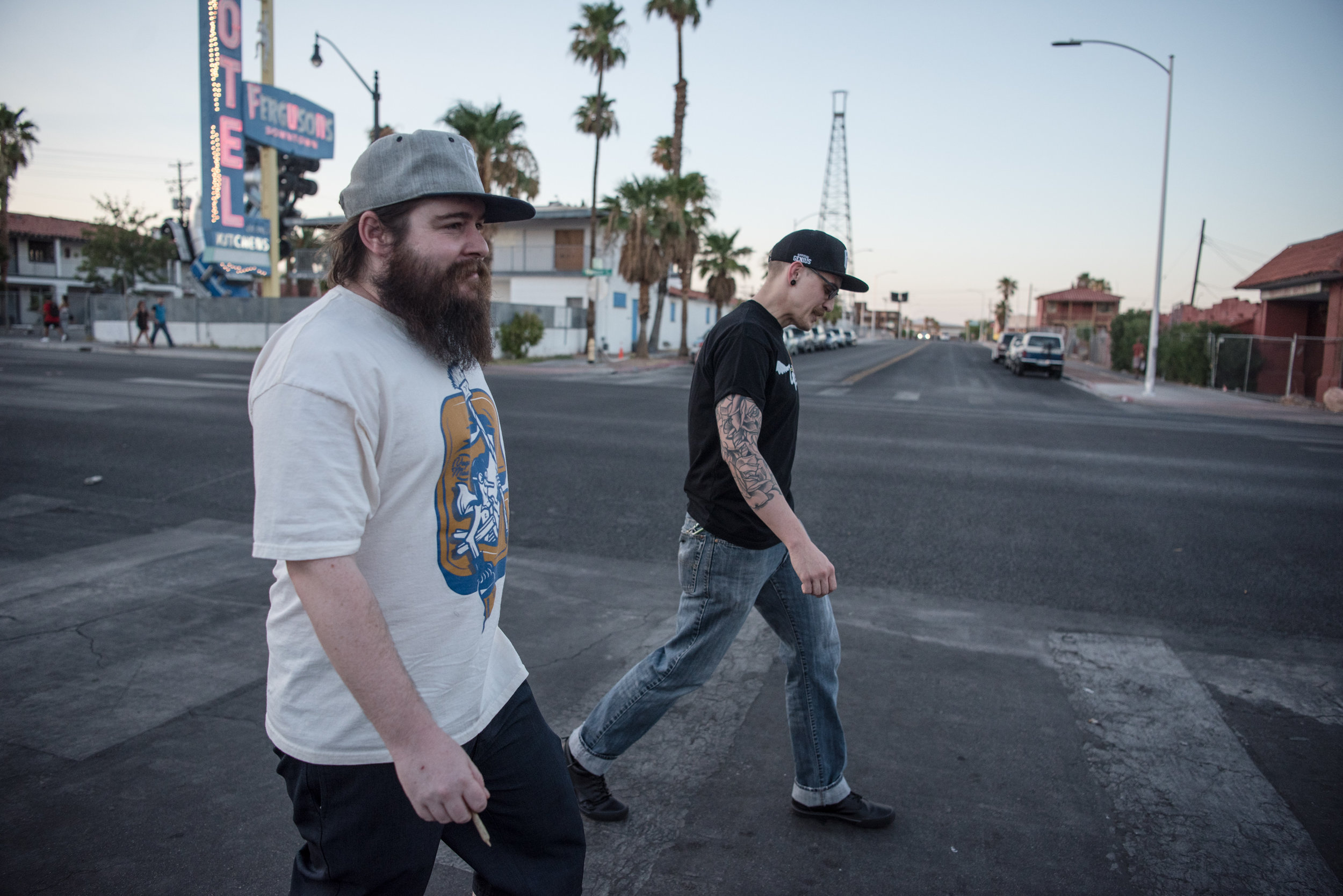 Jay Dubbler and Nic Lynn walking down Fremont Street on Friday, July 28, 2017, in Las Vegas. Morgan Lieberman Las Vegas Review-Journal
