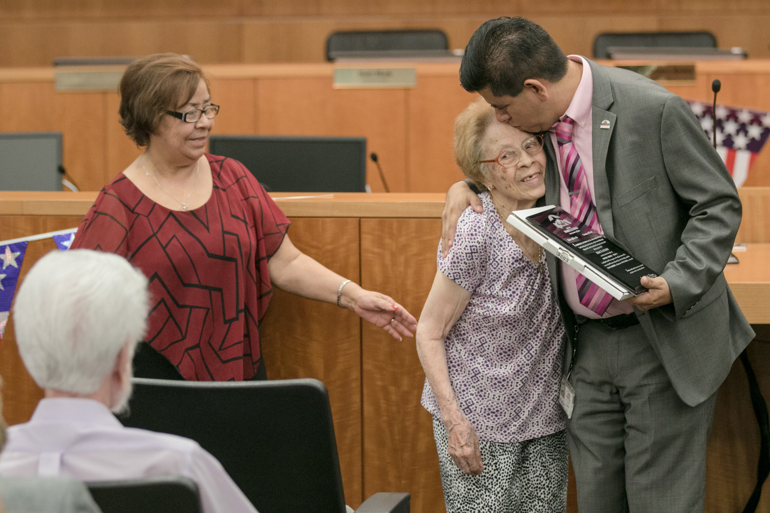 Councilman Isaac Barron hugs his grandmother after his swearing in ceremony at North Las Vegas City Hall on Wednesday, July 5, 2017, in Las Vegas. Morgan Lieberman Las Vegas Review-Journal