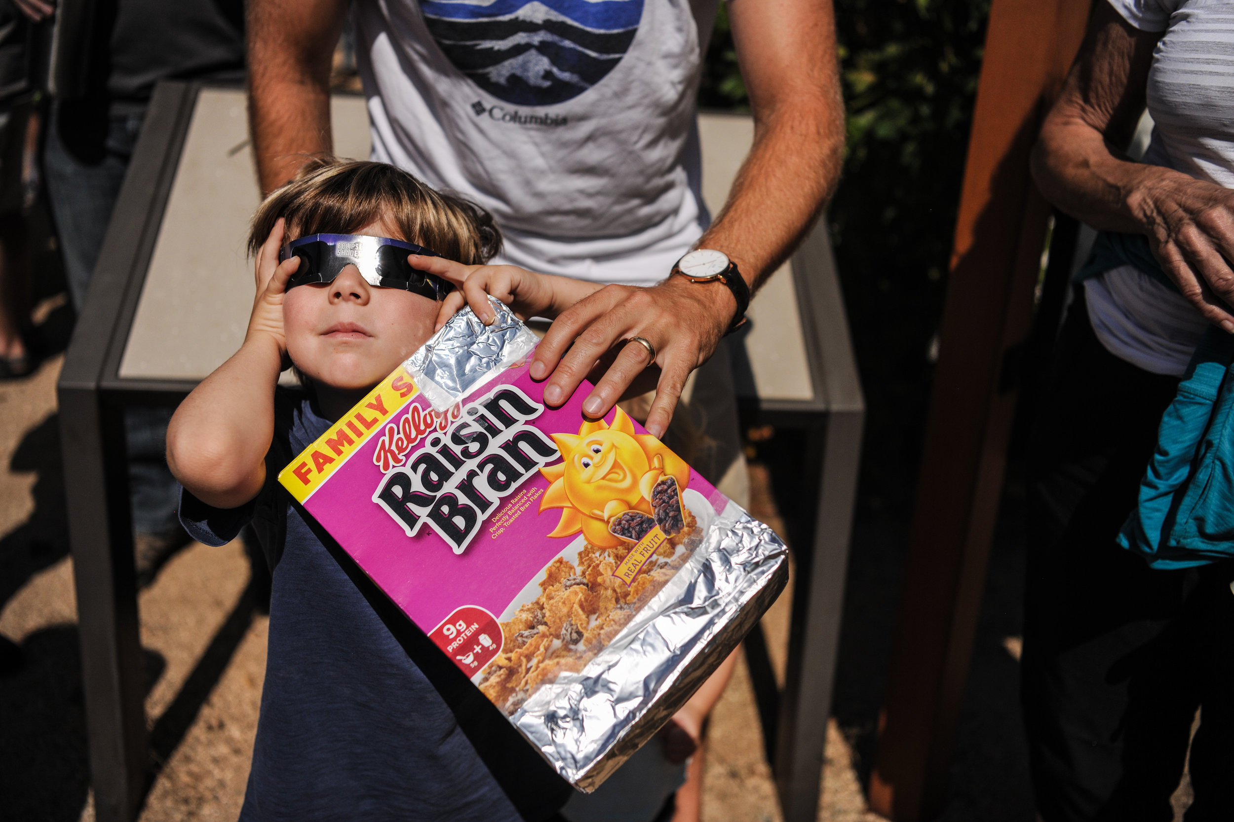 Malibu resident Miles Carlsen, 5, plays with eclipse glasses before his first day of kindergarten at King Gillette Ranch in Calabasas, California, on Monday, Aug. 21, 2017. Morgan Lieberman Las Vegas Review-Journal