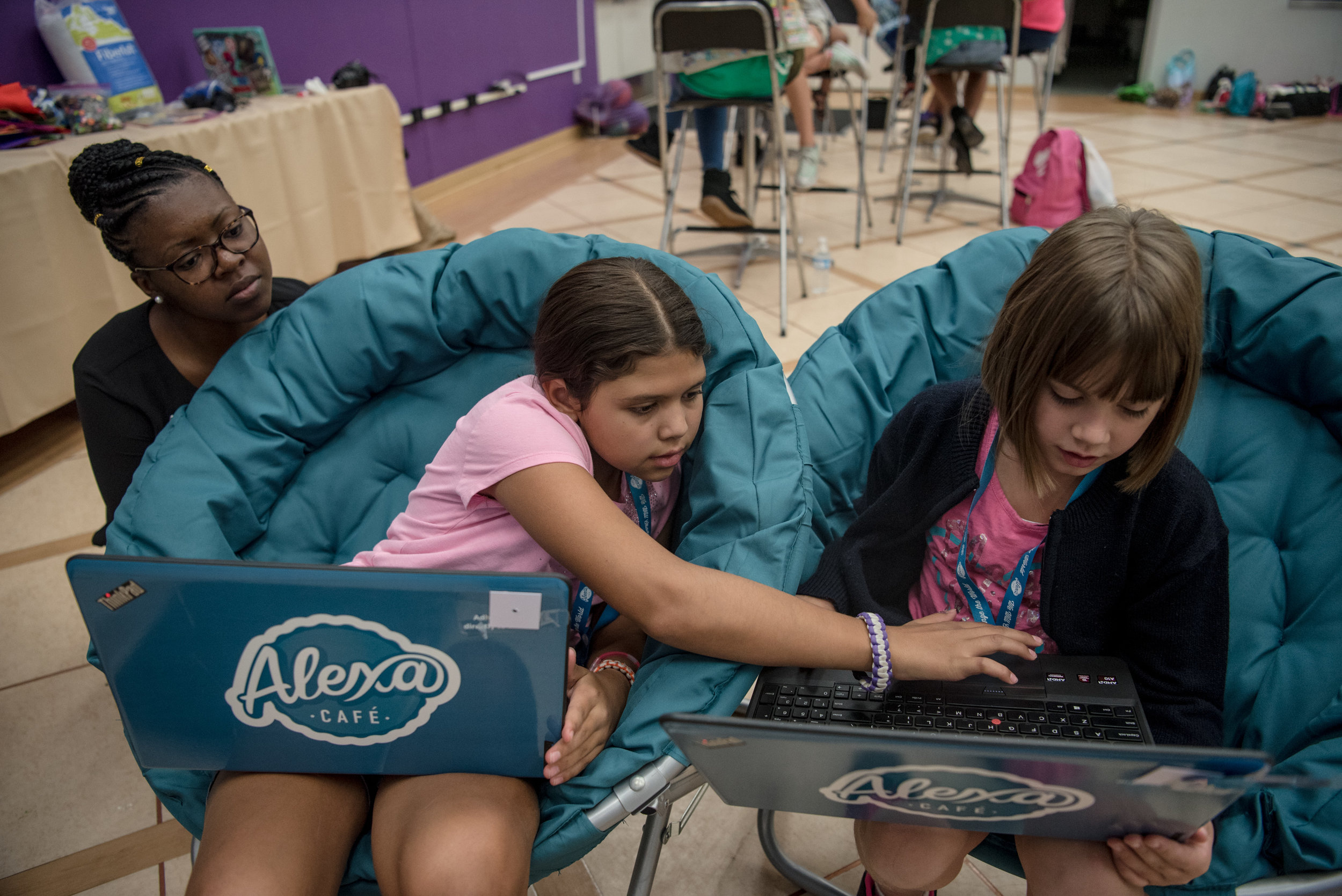 Emily, 9, and Triniti, 9, work on video game development with STEAM Director of Southern Nevada Britney Davis during  Alexa Café at Girl Scouts of Southern Nevada on Tuesday, Aug. 8, 2017, in Las Vegas. Morgan Lieberman Las Vegas Review-Journal