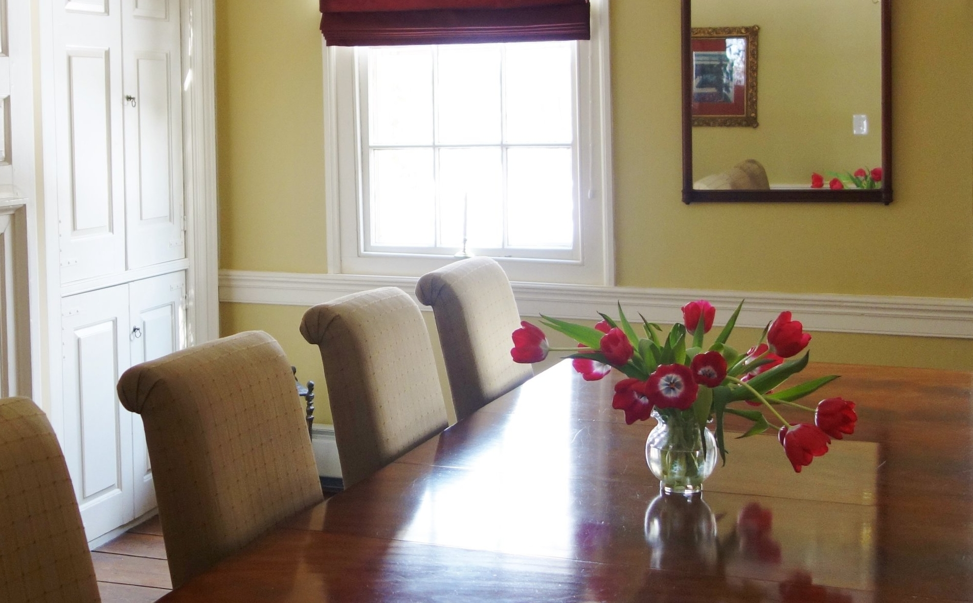 Dining Room with Lovely Tulips