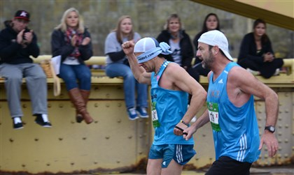 Mike and his sighted guide Jim Irvin compete in last years Pittsburgh Marathon