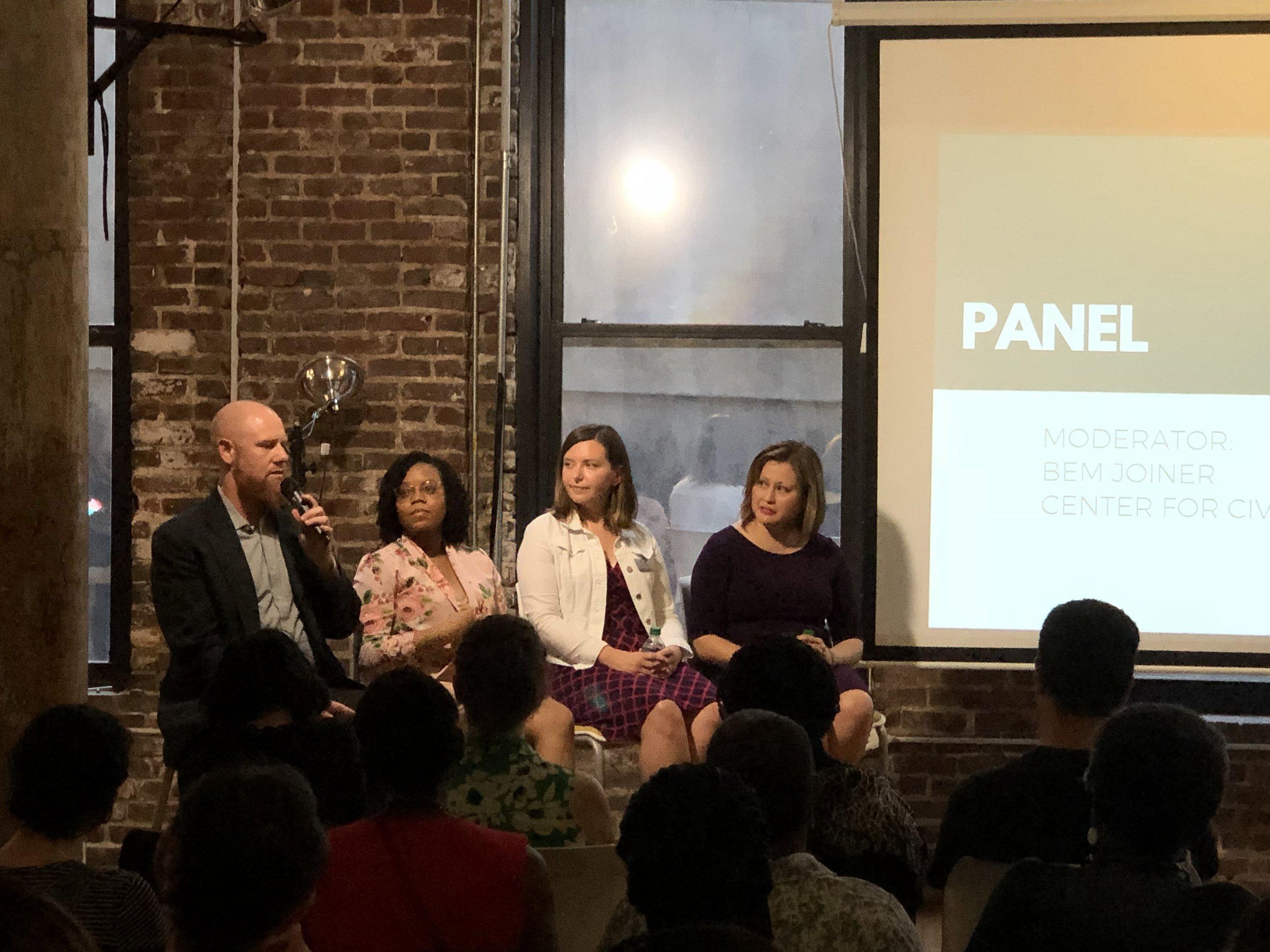 Panelists include from (left to right) Nathan Soldat and Whitney Fuller (Community Engagement Managers at Atlanta BeltLine), Audrey Leous (Project Manager, Planning and Urban Design at Central Atlanta Progress), and Casie Yoder (Casie Yoder Consulting and Former Chief Spokesperson for City of Decatur).
