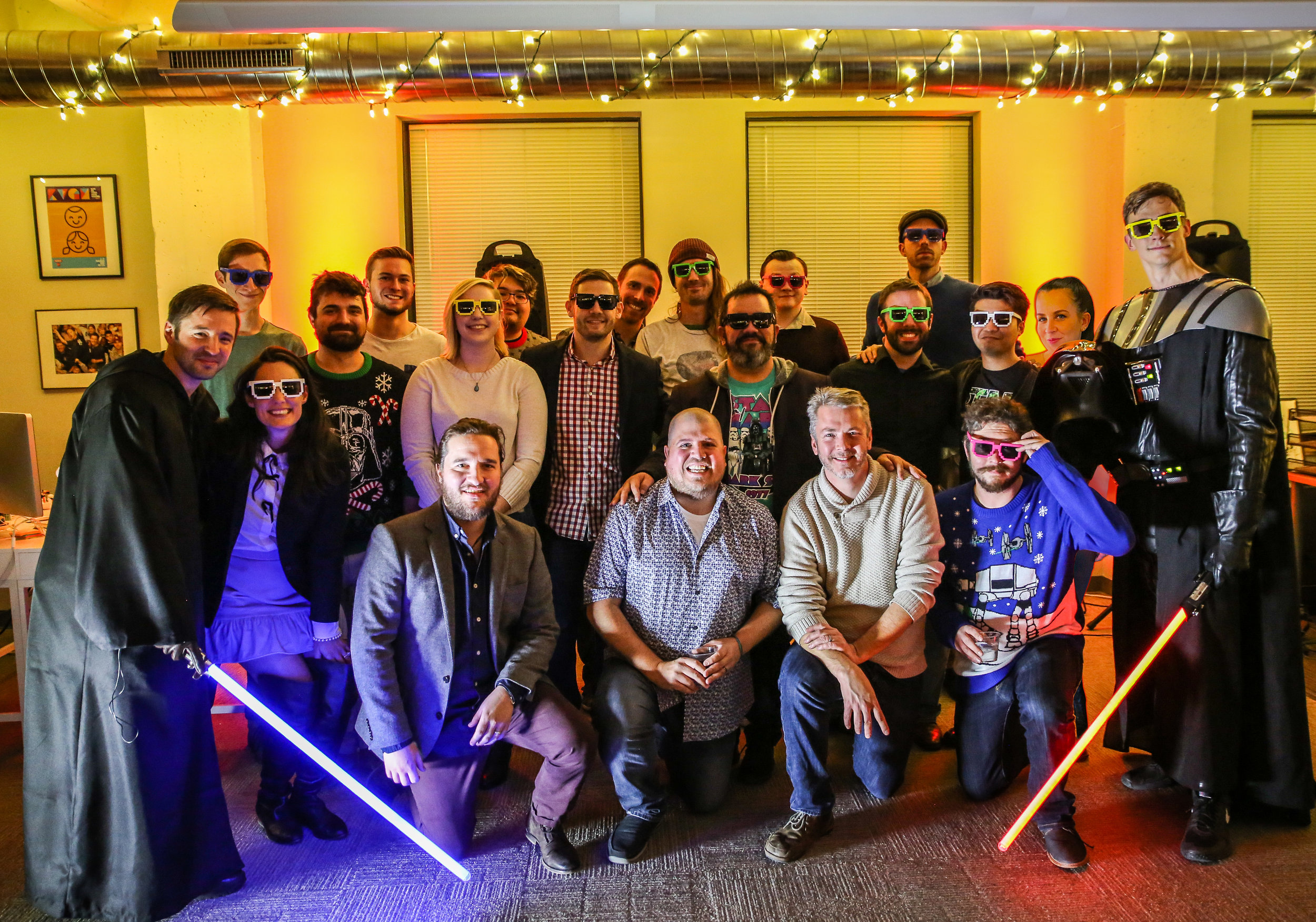 The Pixel Press team at the Bloxels Star Wars Launch Party. Can you tell who is photoshopped in?